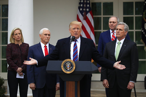 The President, senior administration officials and congressional Republicans in the Rose Garden, addressing reporters.  Picture Credit: oann.com
