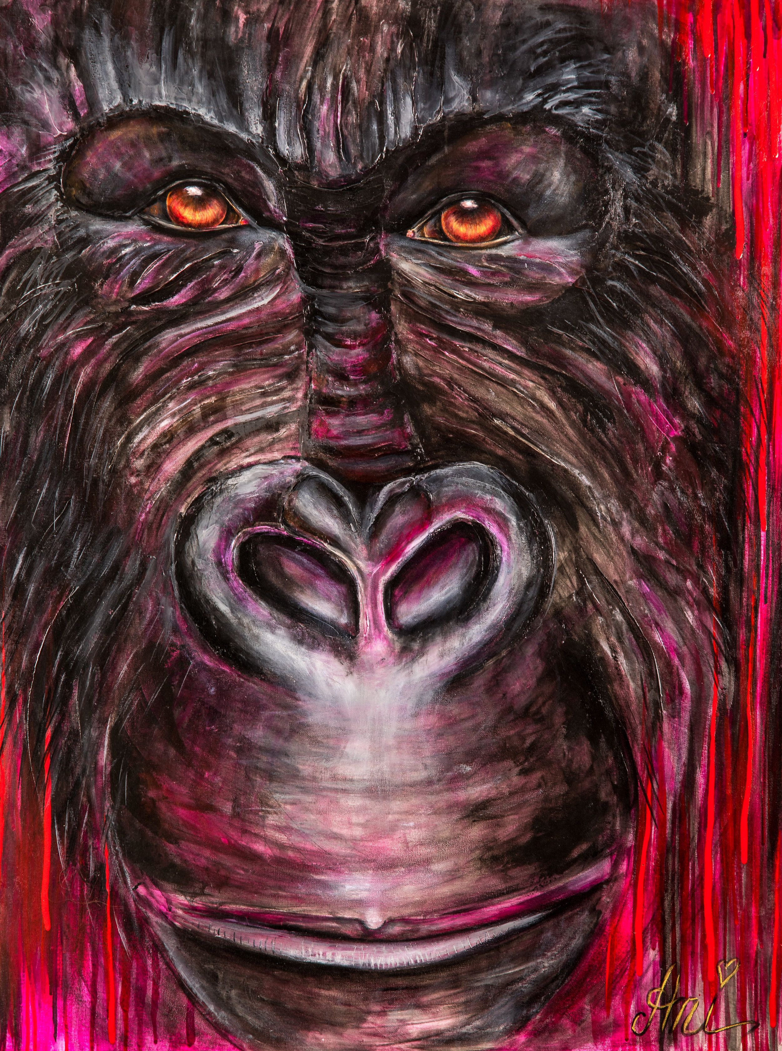 Le Gorille : Peinture acrylique sur toile 3D, 100cm x 75cm  Prix: 250€ + frais de livraison