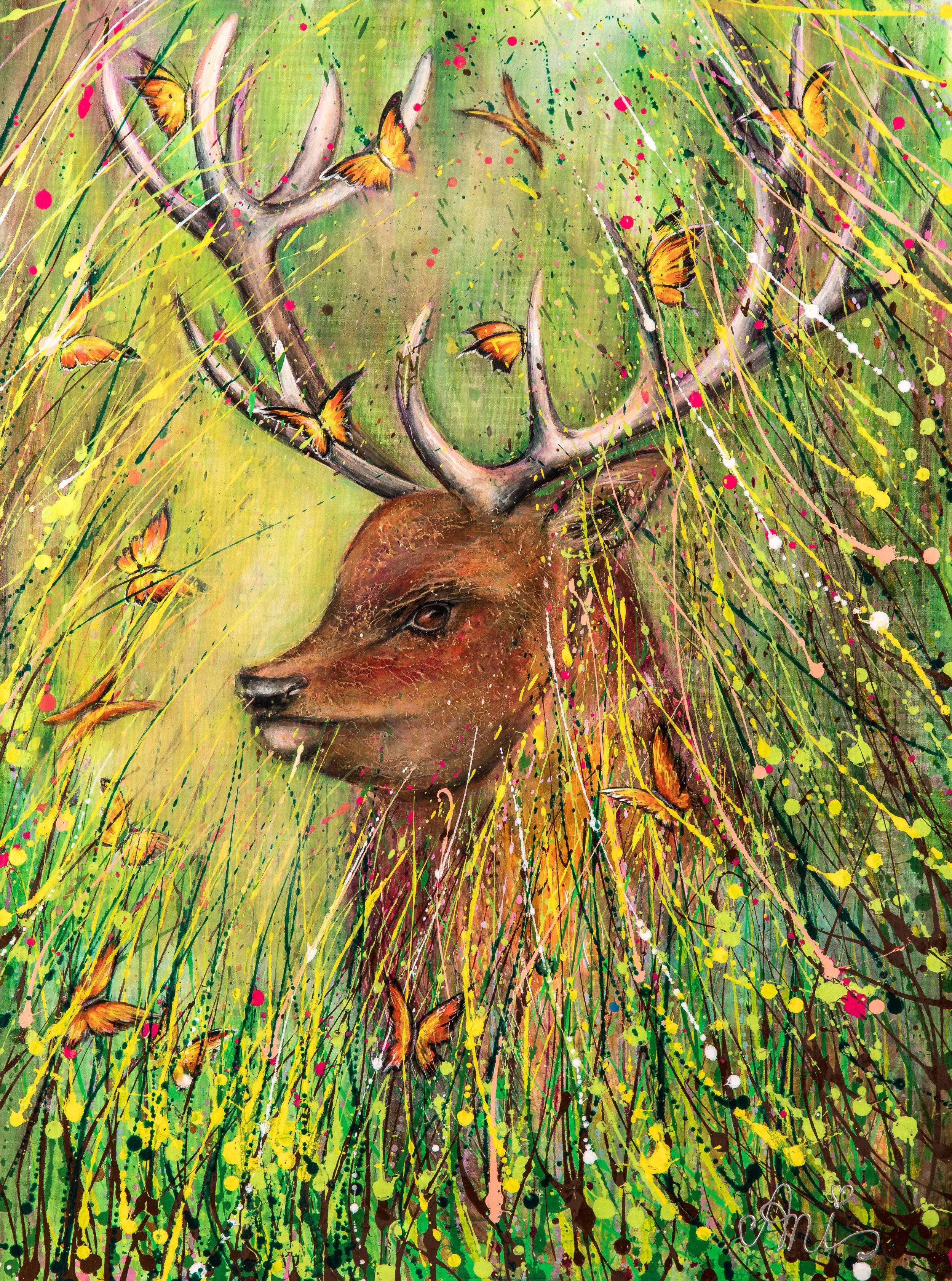 Le Renne de la forêt:  Peinture acrylique sur toile 3D, 100cm x 75cm  Prix: 250€ + frais de livraison