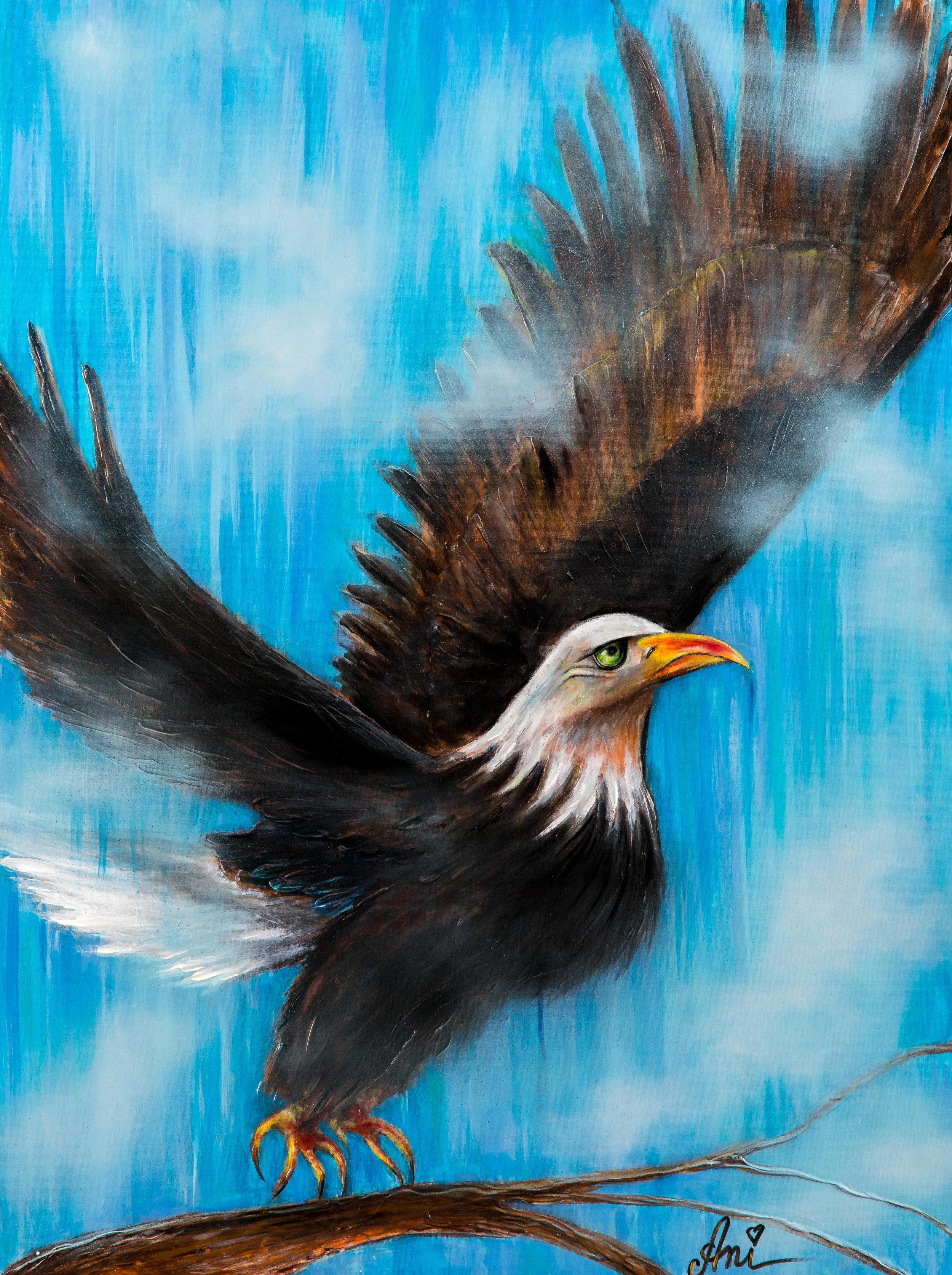 L'aigle Royal:  Peinture acrylique sur toile 3D, 100cm x 75cm  Prix: 250€ + frais de livraison