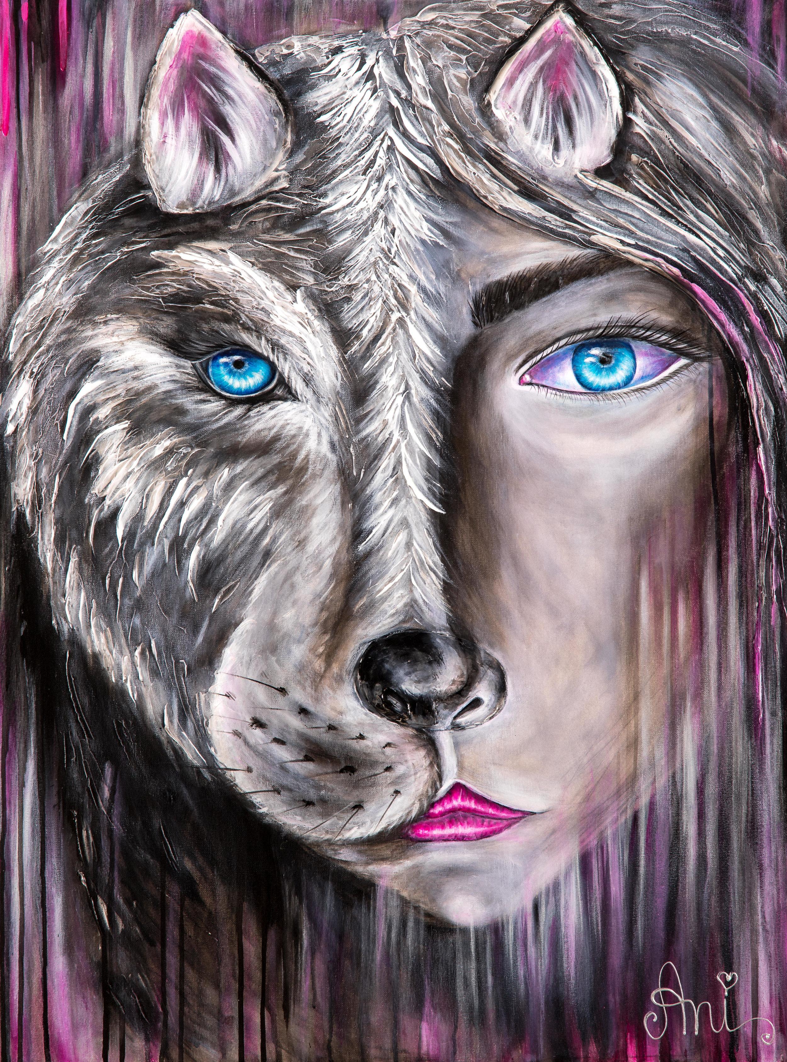 La femme sauvage:  Peinture acrylique sur toile 3D, 100cm x 75cm  Prix: 250€ + frais de livraison