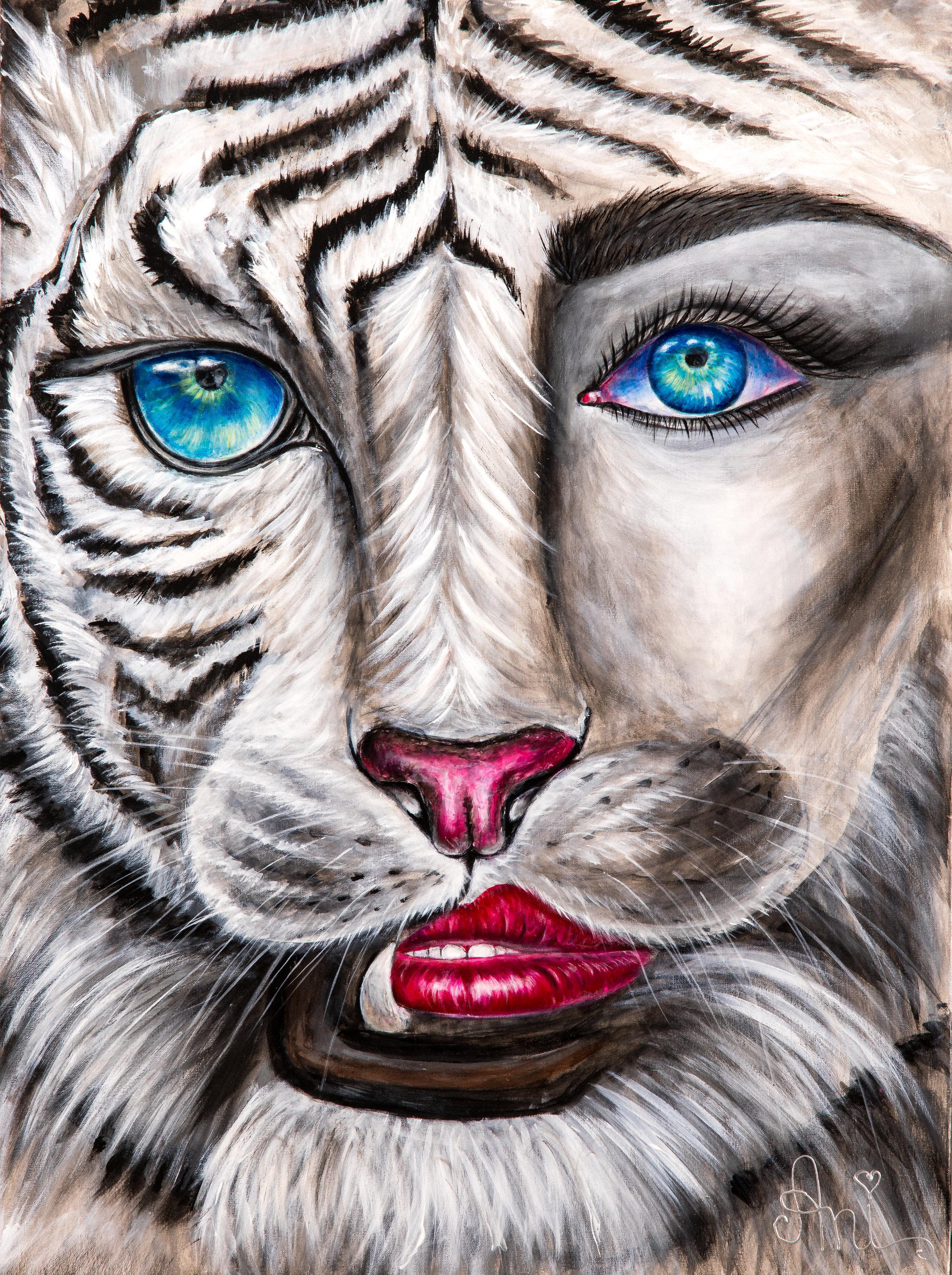 La tigresse:  Peinture acrylique sur toile 3D, 100cm x 75cm  Prix: 250€ + frais de livraison