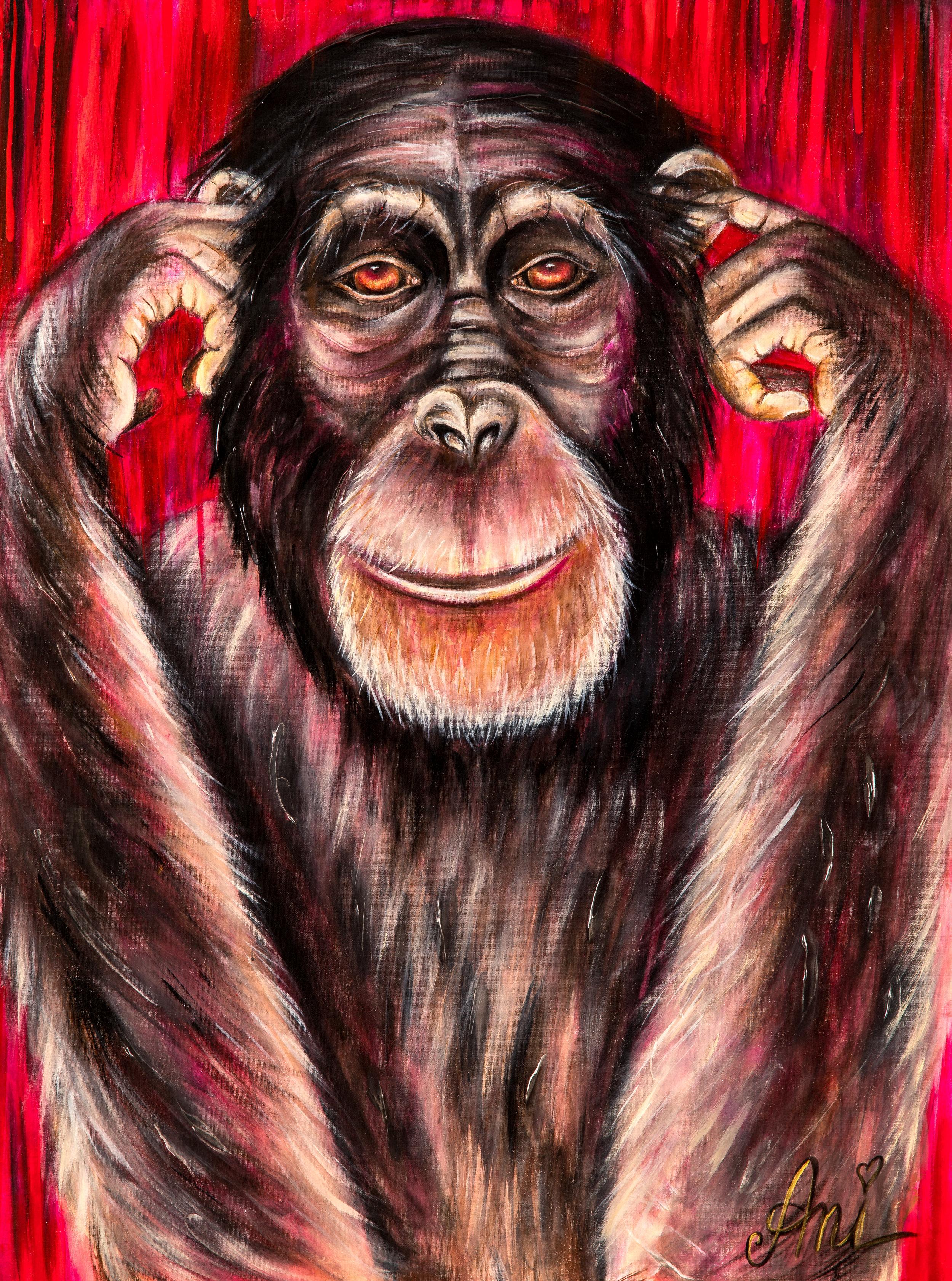 Le chimpanzé fait le sourd:  Peinture acrylique sur toile 3D, 100cm x 75cm  Prix: 250€ + frais de livraison