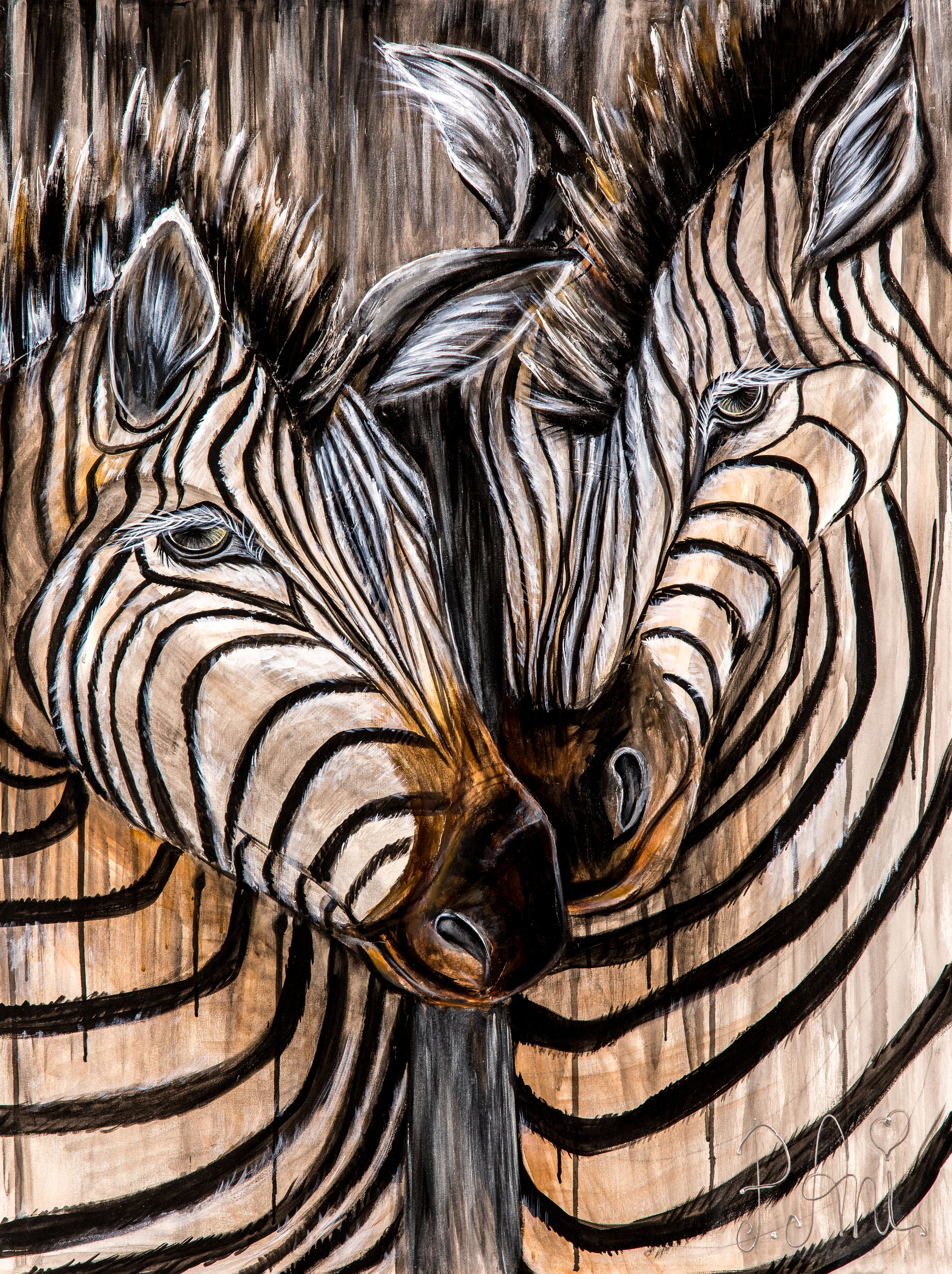 Les zèbres amoureux:  Peinture acrylique sur toile 3D, 100cm x 75cm  Prix: 250€ + frais de livraison