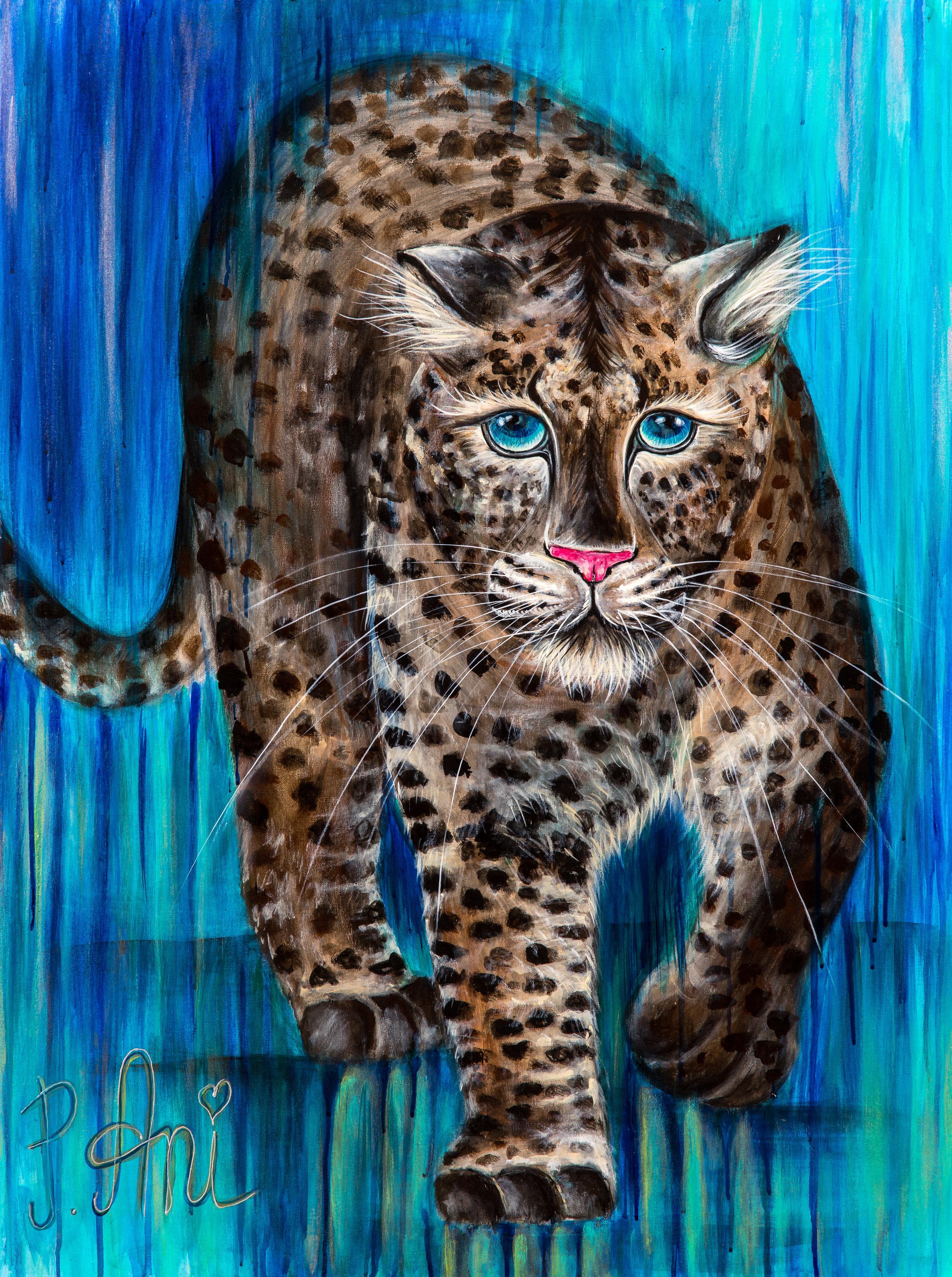 Le Léopard aux yeux bleus:  Peinture acrylique sur toile 3D, 100cm x 75cm  Prix: 750€ + frais de port