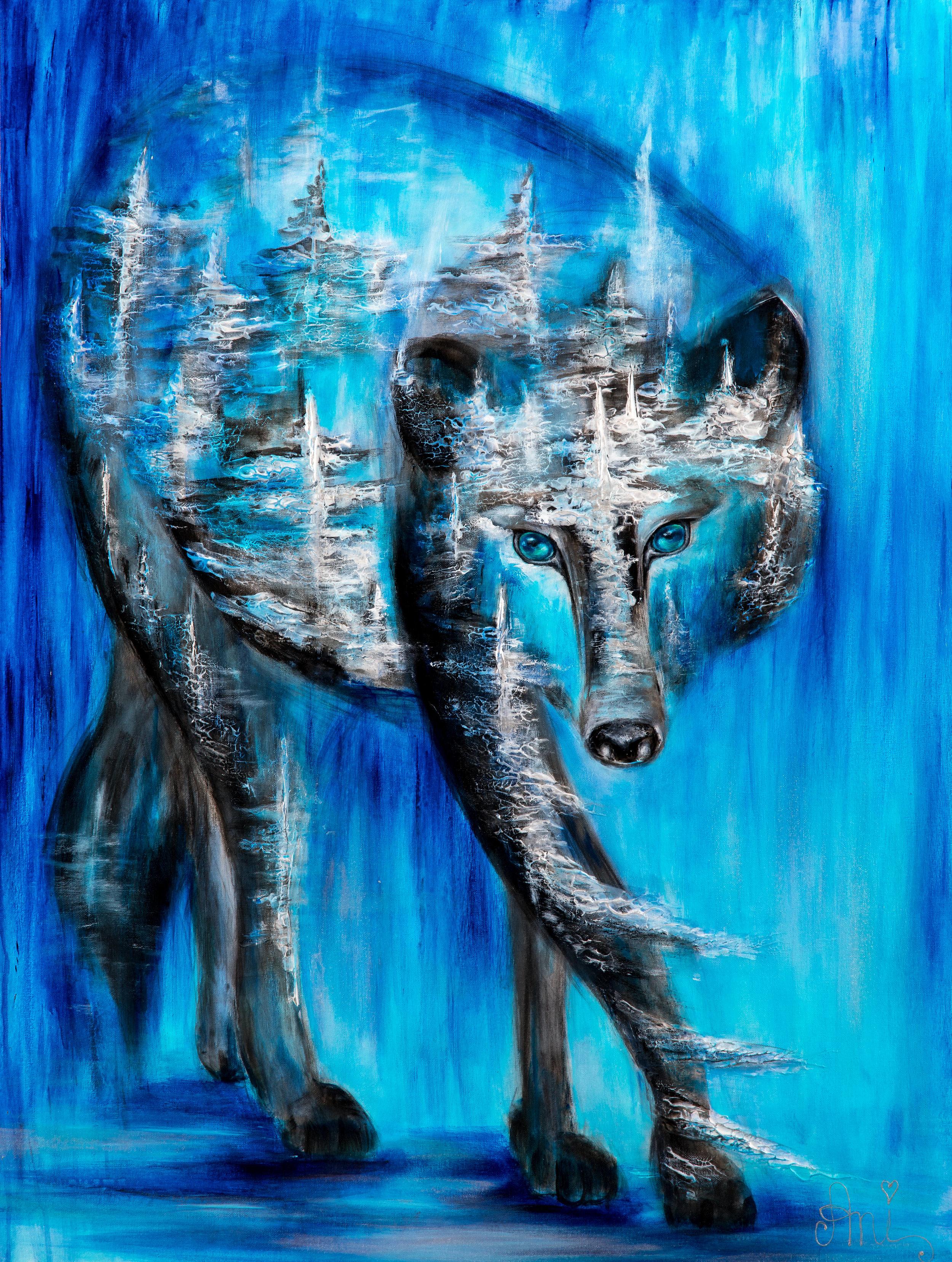 Le loup de la forêt:  Peinture acrylique sur toile 3D, 100cm x 75cm  Prix: 1100€ + frais de livraison