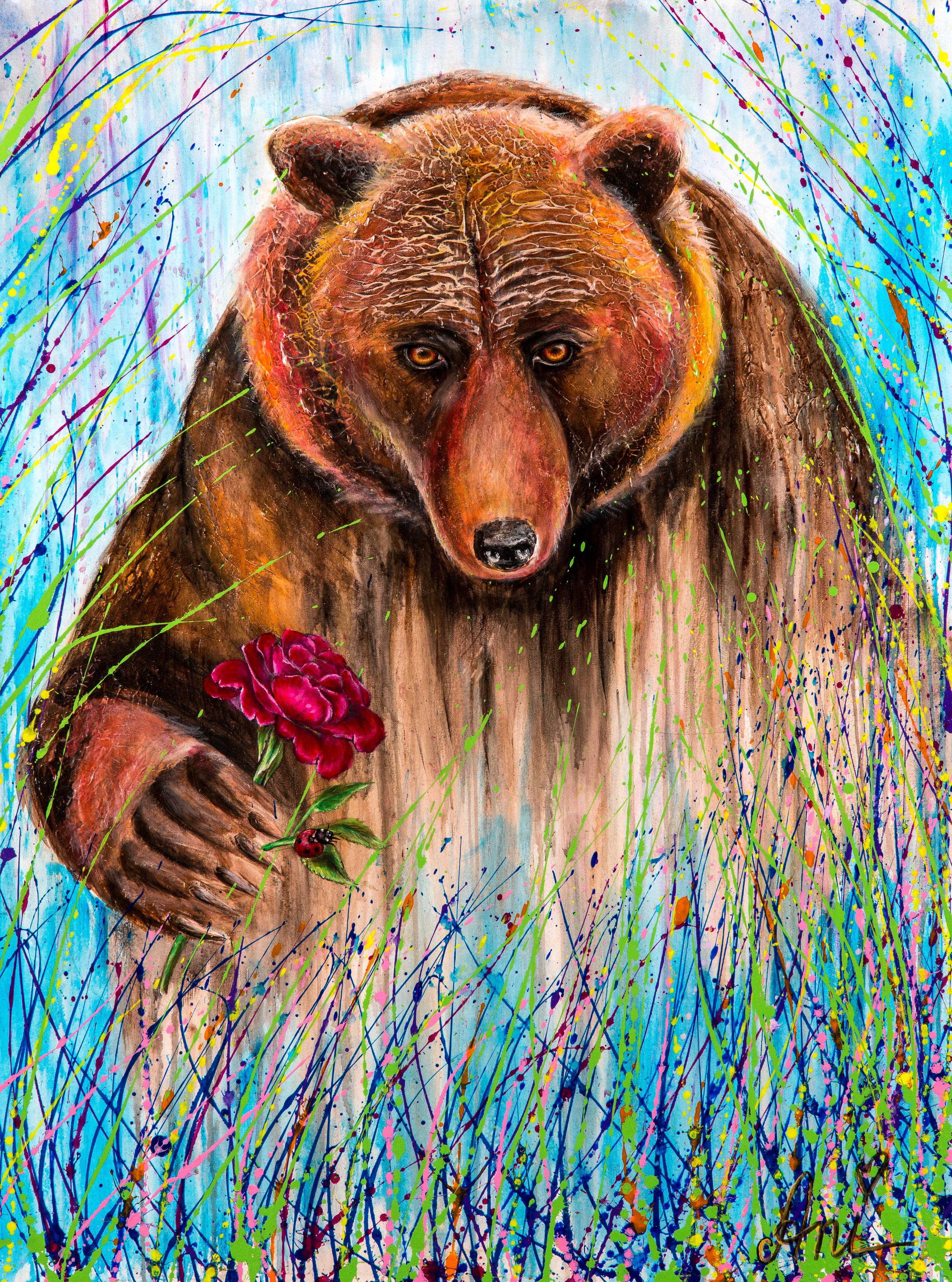 L'ours romantique:  Peinture acrylique sur toile 3D, 100cm x 75cm  Prix: 1100€ + frais de livraison
