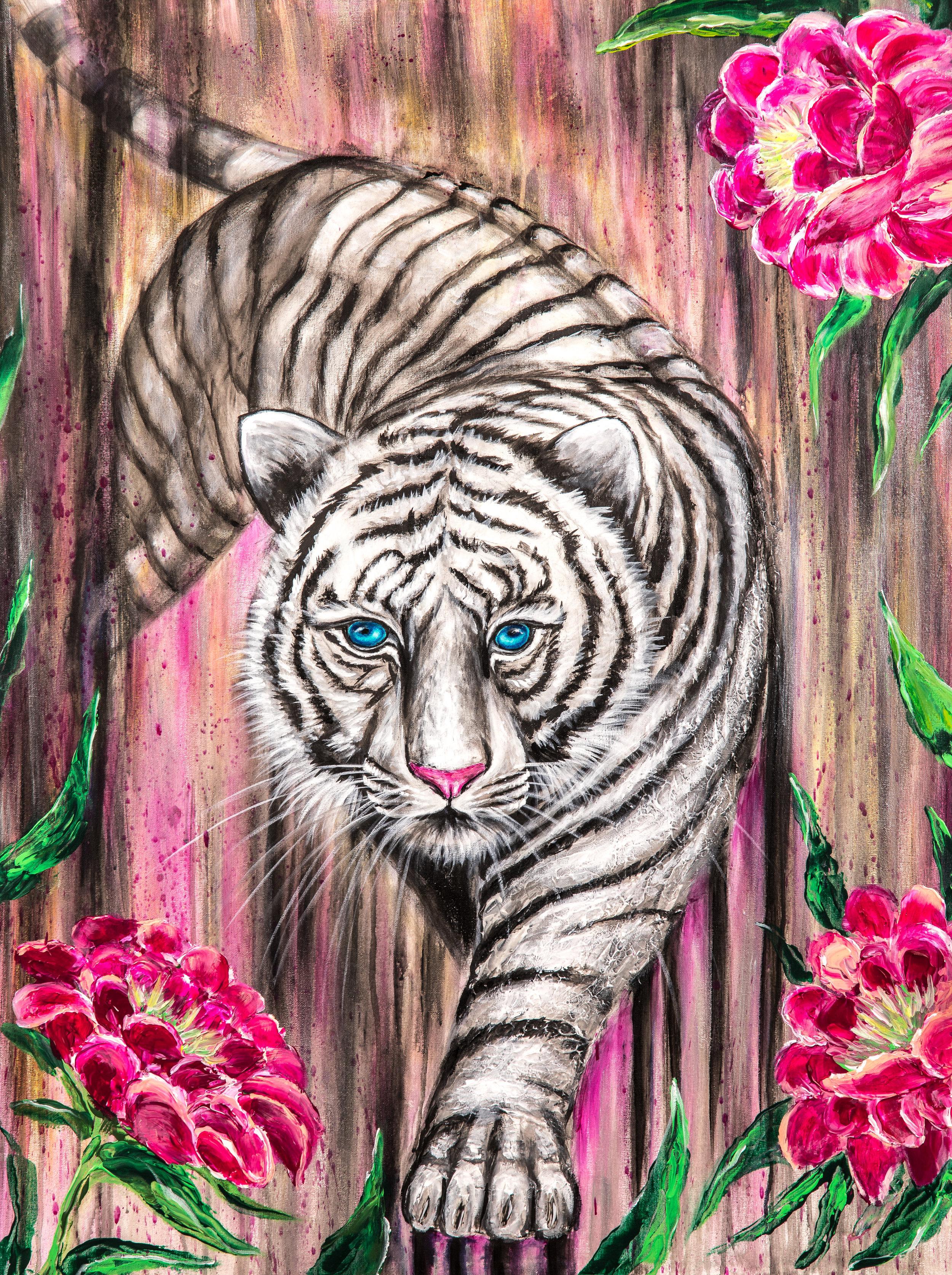 La tigresse dans son jardin:  Peinture acrylique sur toile 3D, 100cm x 75cm  Prix: 1100€ + frais de livraison