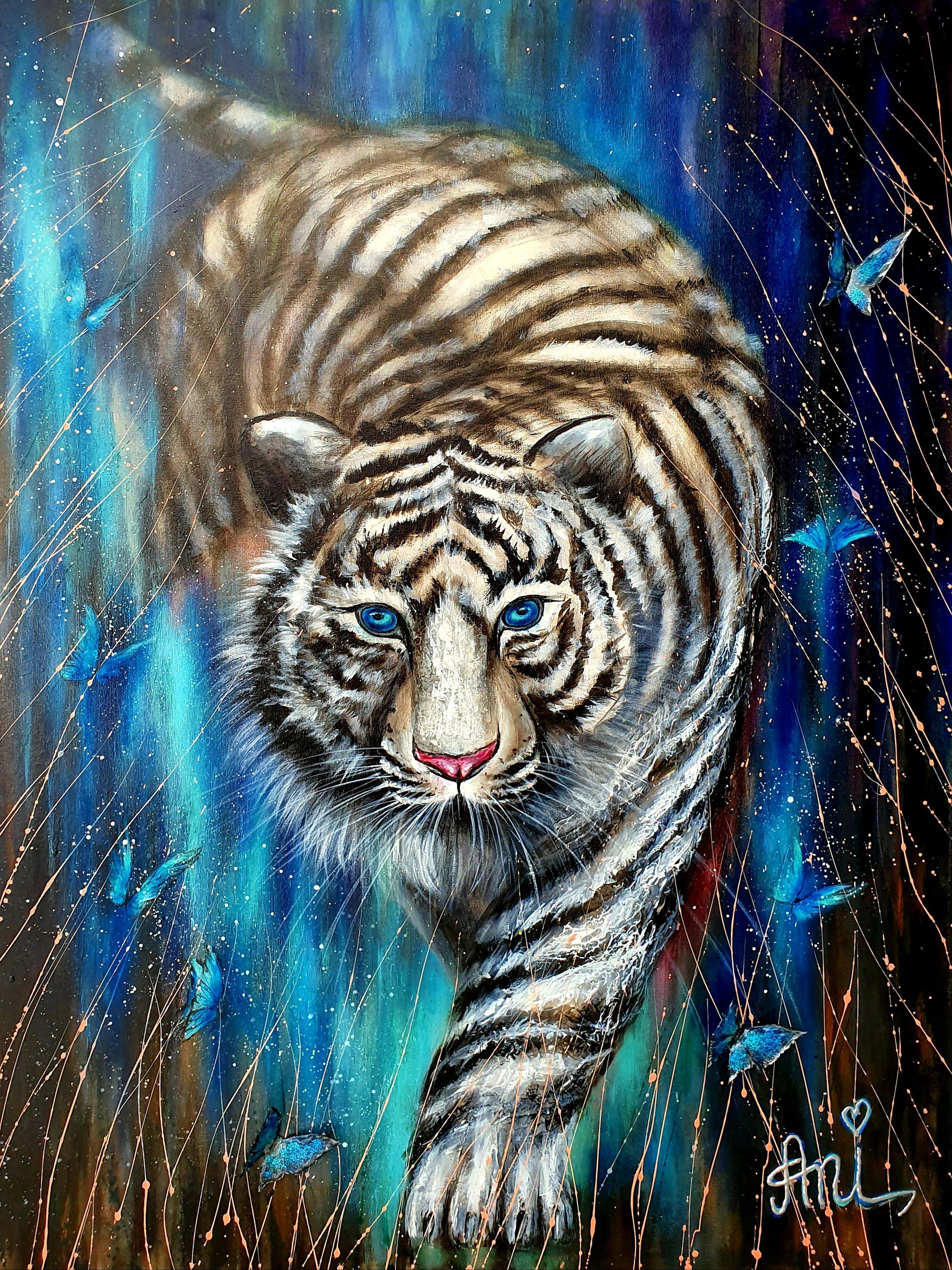 Le tigre romantique:  Peinture acrylique sur toile 3D, 100cm x 75cm  Prix: 1100€ + frais de livraison