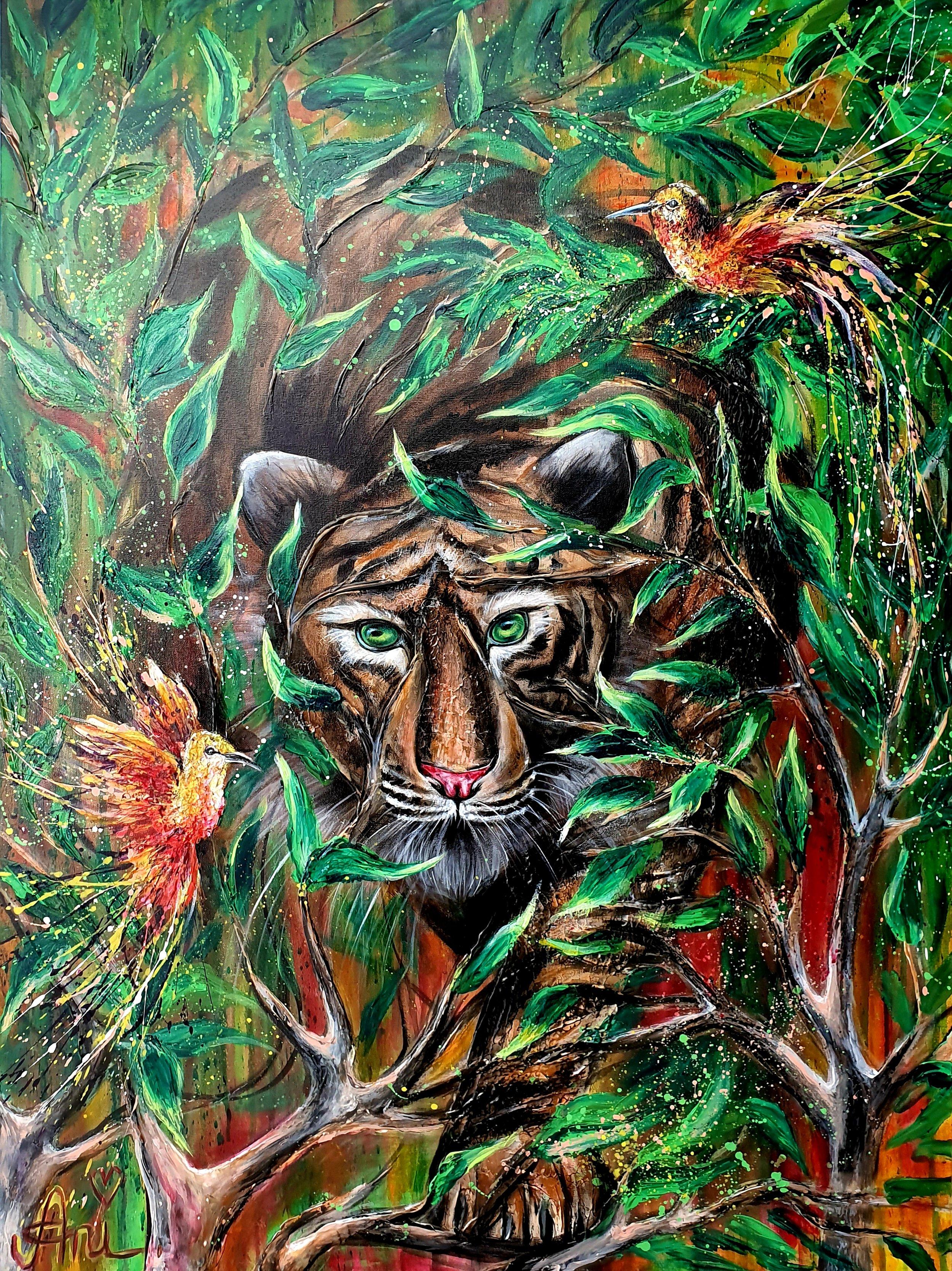 Le tigre de la jungle:  Peinture acrylique sur toile 3D, 100cm x 75cm  Prix: 1100€ + frais de livraison