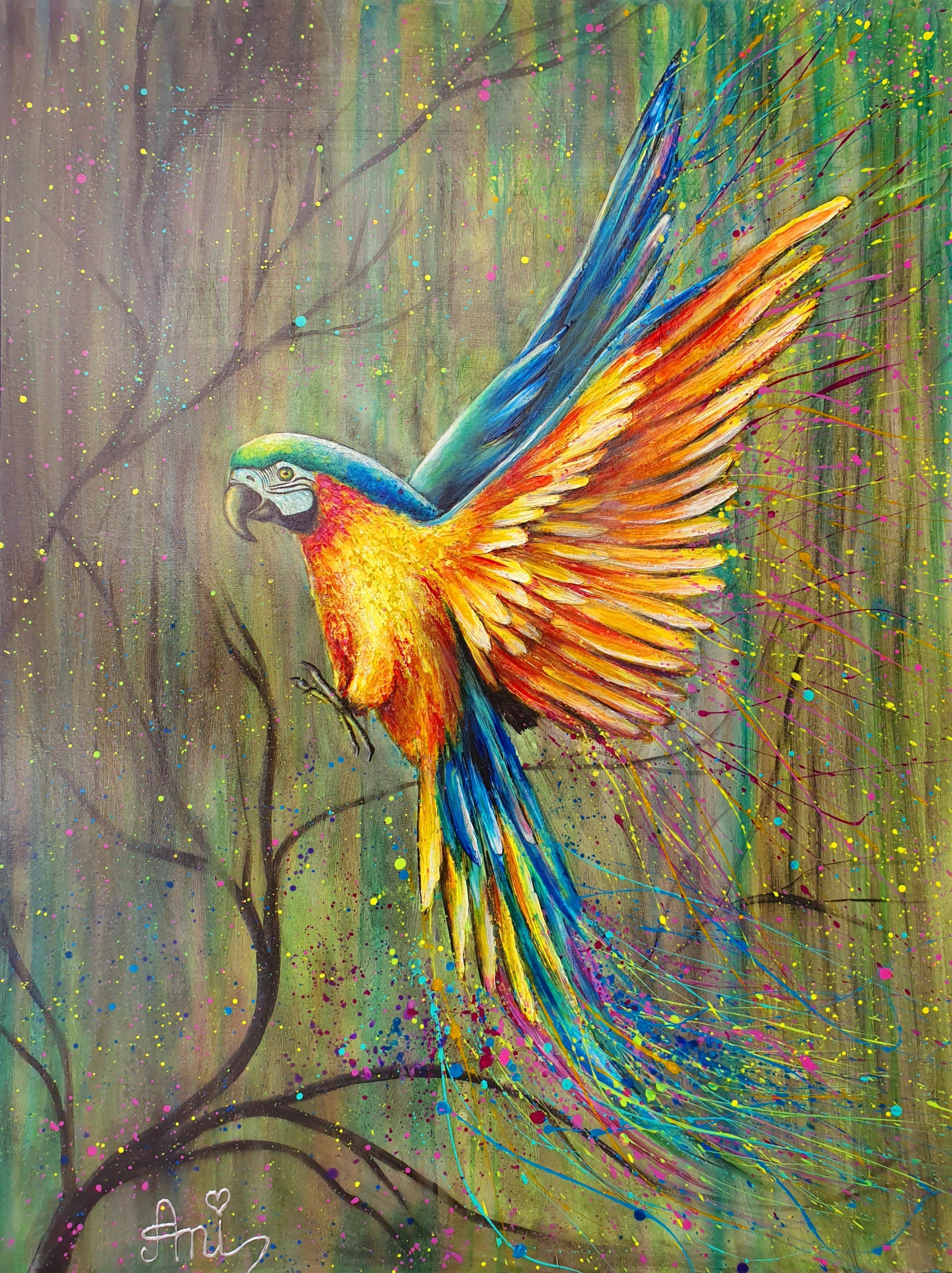 L'envol du perroquet:  Peinture acrylique sur toile 3D, 100cm x 75cm  Prix: 1200€ + frais de port
