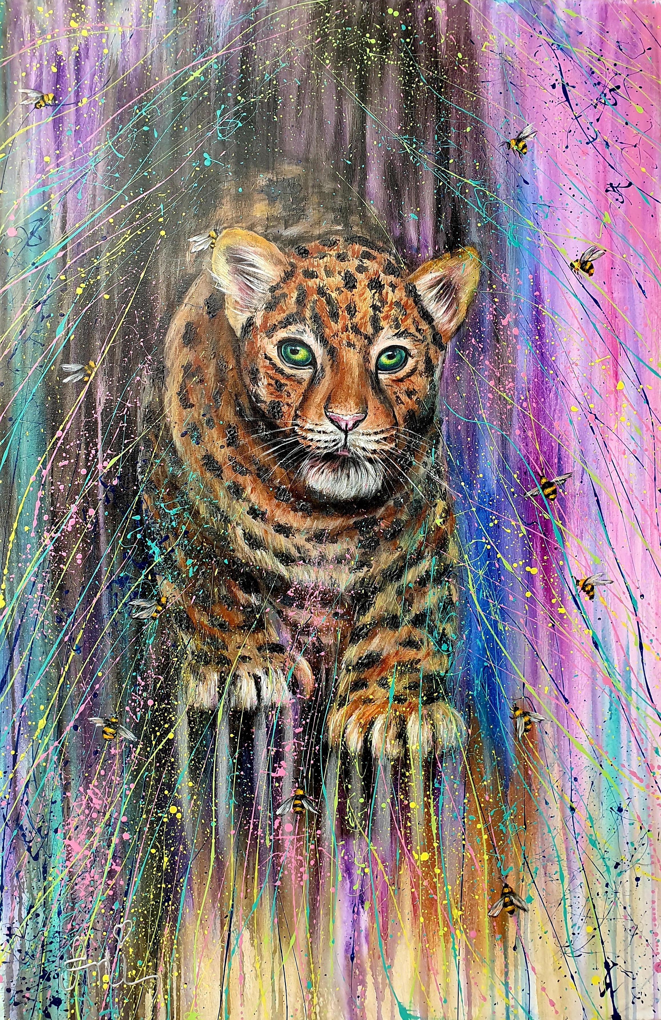 Le léopardeau:  Peinture acrylique sur toile, 115cm x 75cm  Prix: 1250€ + frais de livraison