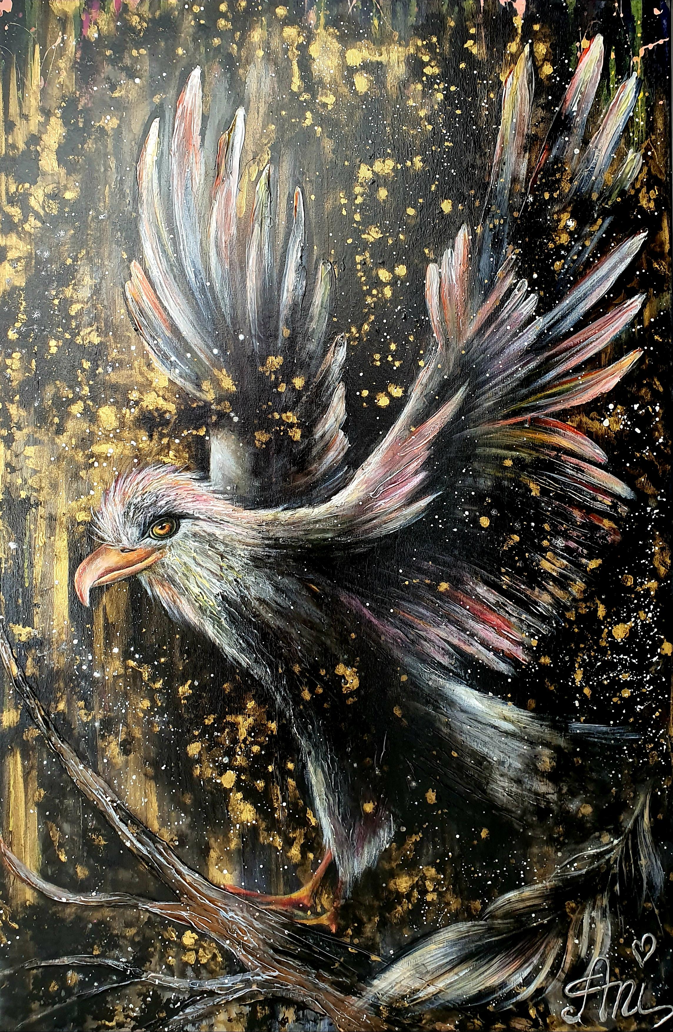 L'envol royal:  Peinture acrylique sur toile, 115cm x 75cm  Prix: 1250€ + frais de livraison