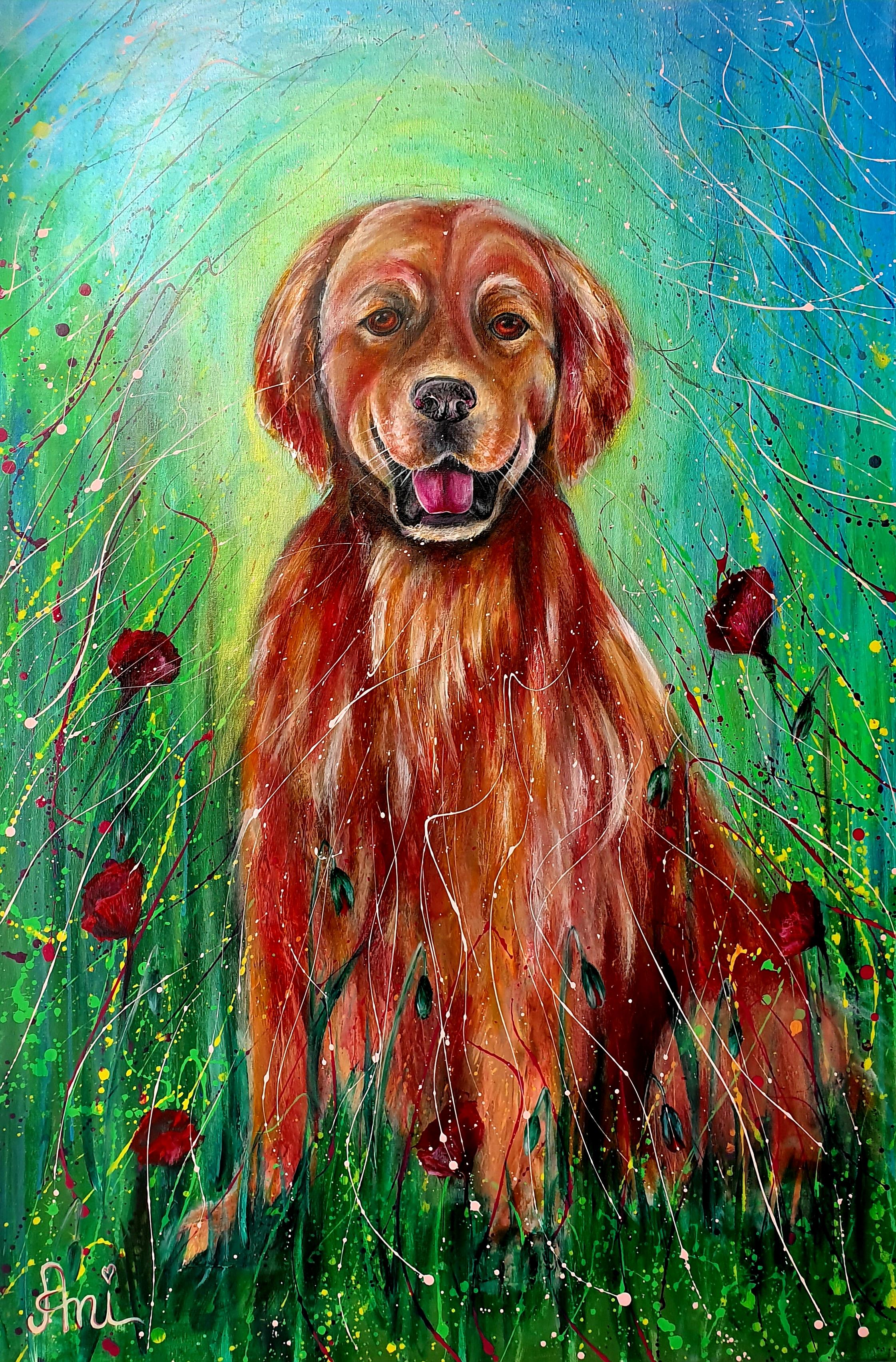 Le chien heureux:  Peinture acrylique sur toile, 115cm x 75cm  Prix: 1250€ + frais de port