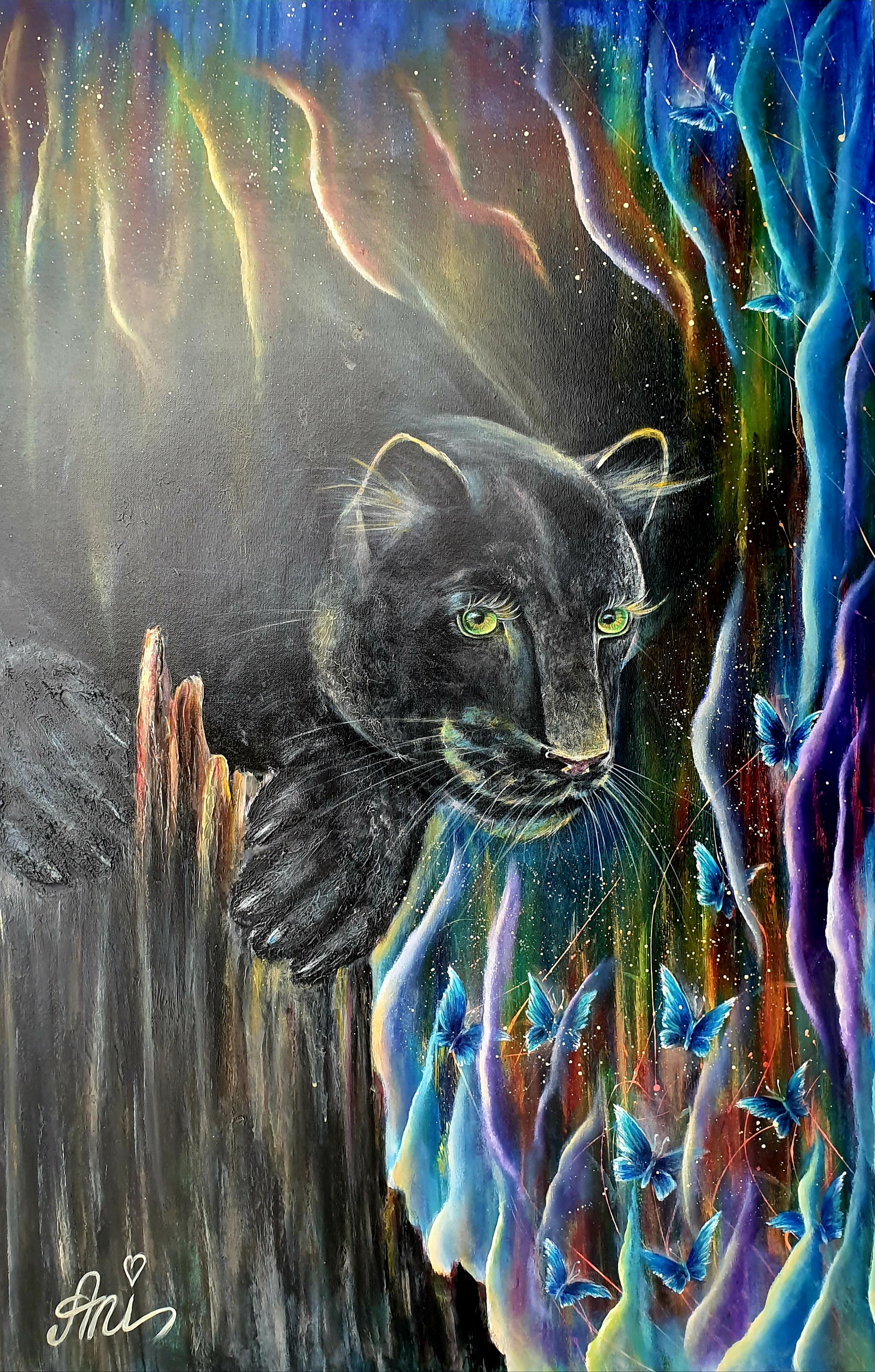 The black panther:  Peinture acrylique sur toile, 115cm x 75cm  Prix: 1250€ + frais de port