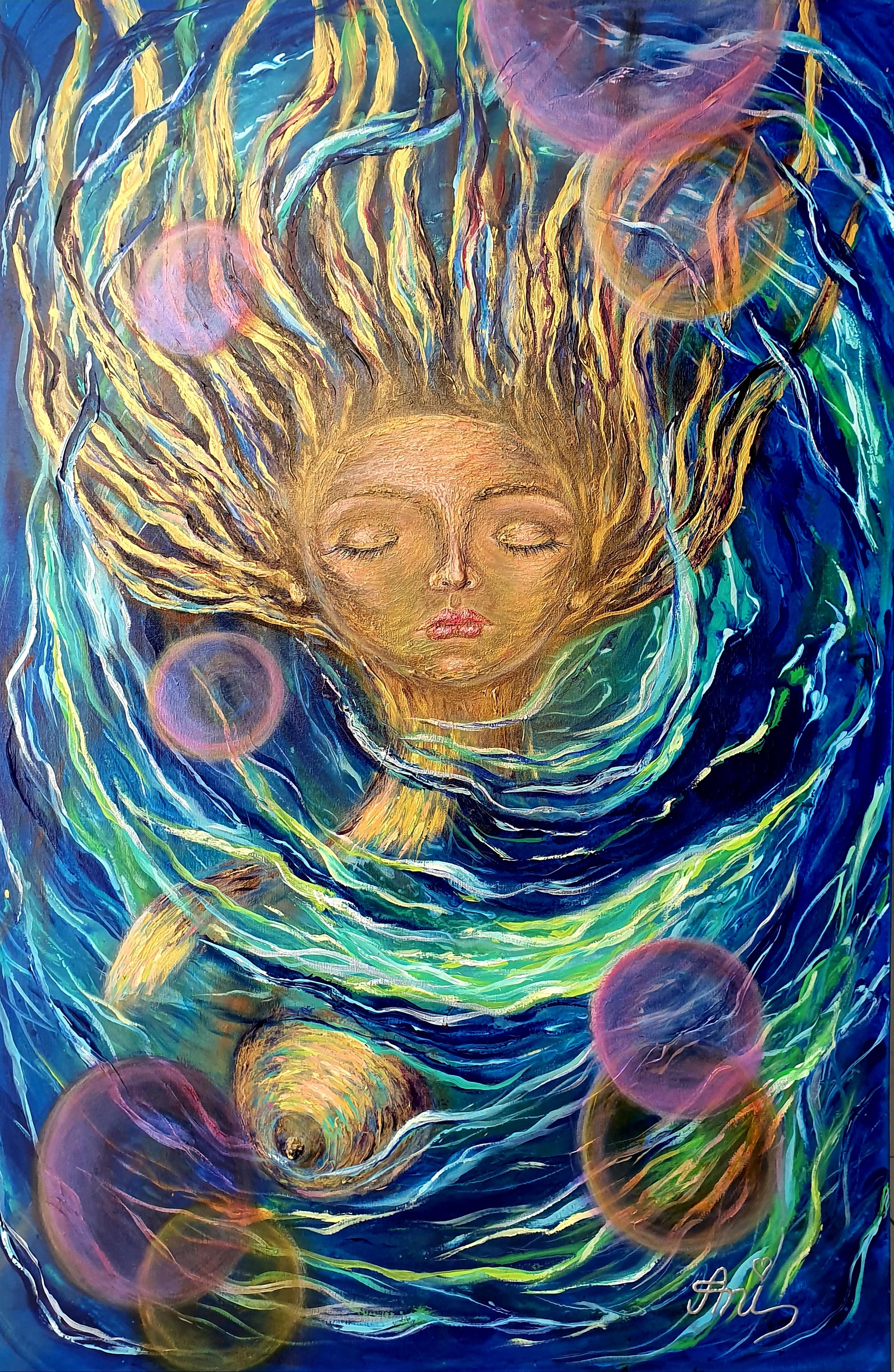 Le sommeil de la sirène:  Peinture acrylique sur toile, 115cm x 75cm  Prix: 1250€ + frais de livraison