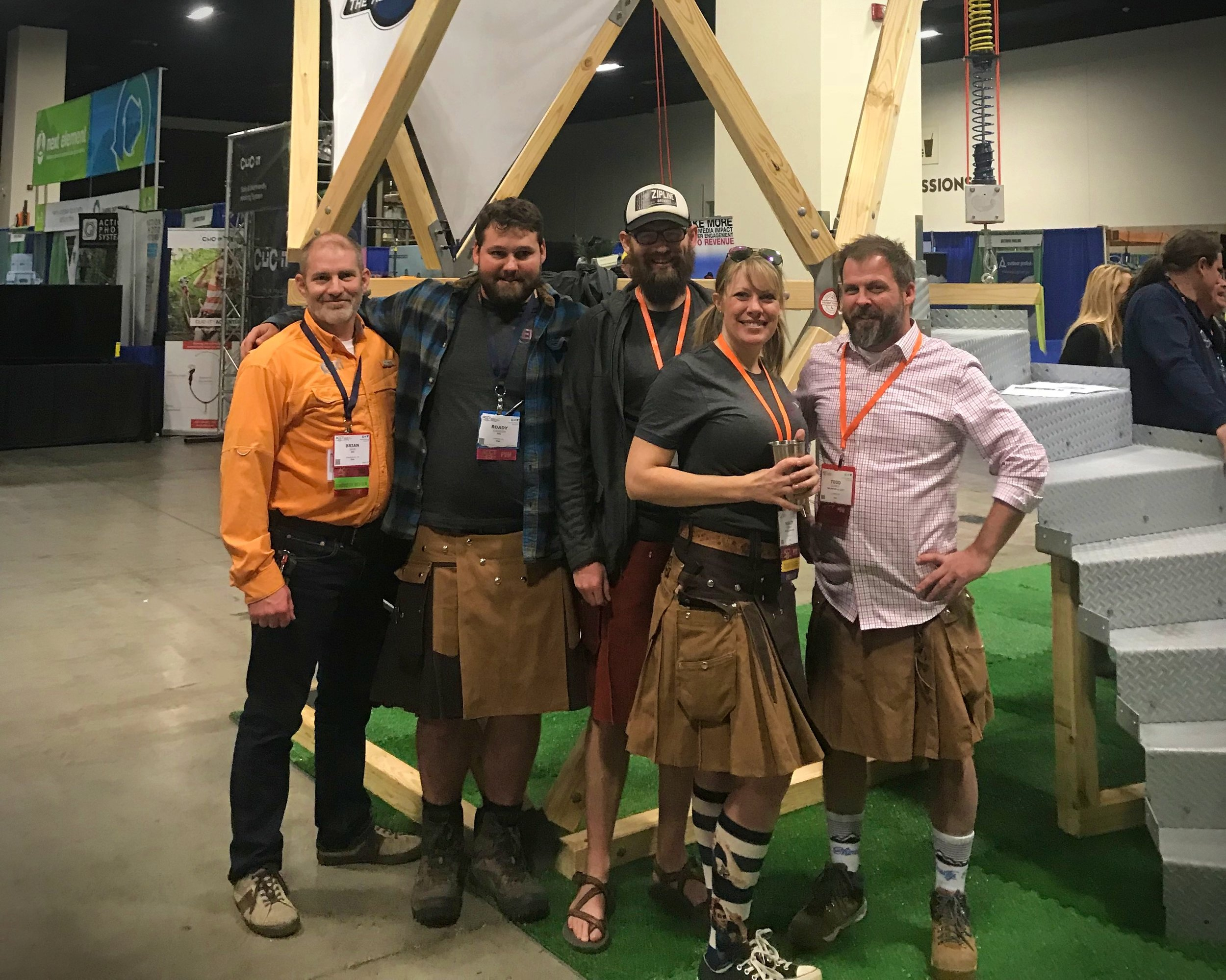 The ERi team with their GeoFort at the 2018 Association for Challenge Course Technology (ACCT) conference.