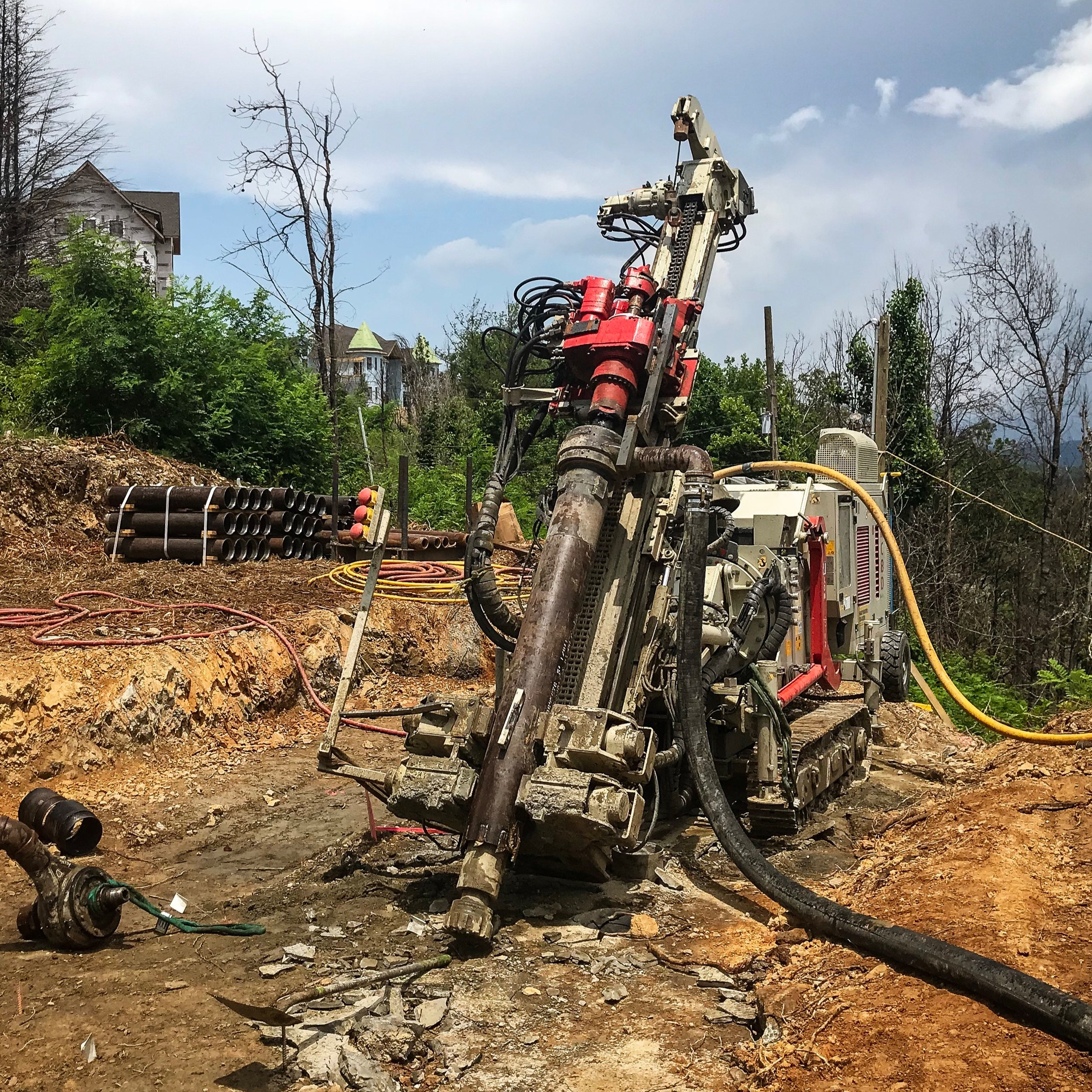 Drill rig ready to install micropiles for the Gatlinburg SkyBridge.