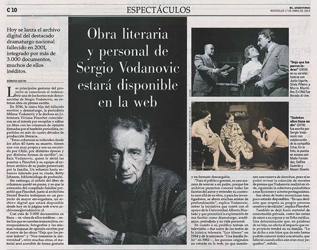 Hoy en El Mercurio 💙 Les esperamos a las 19:00 en el lanzamiento en la UAH!  #teatrochileno  #sergiovodanovic  #generaciondel50  #archivosdeautor  #archivosergiovodanovic  #archivosdeartesescenicas
