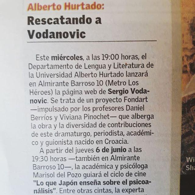 Hoy en Artes y letras de El Mercurio.  #teatrochileno  #generaciondel50  #archivosdeautor  #archivosergiovodanovic  #archivosdeartesescenicas