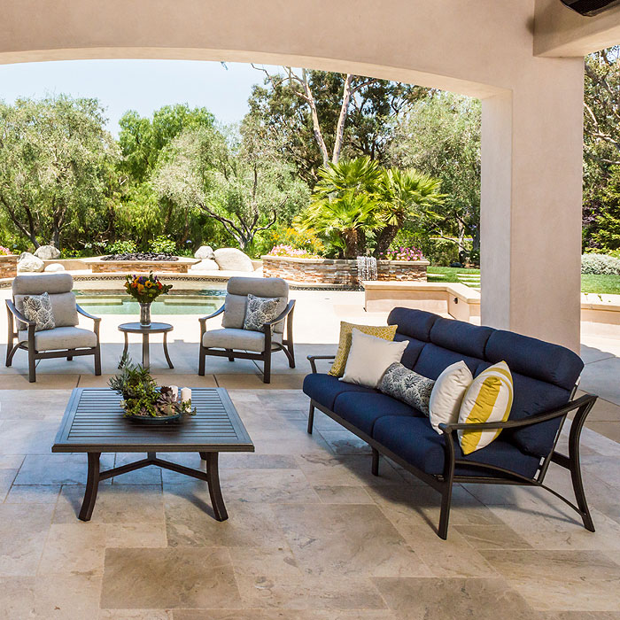 Corsica by Tropitone offers furniture built for exceptional comfort and durability using the highest quality aluminum and sunbrella fabrics.