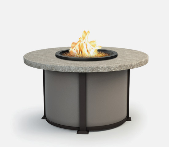 "42"" Slate firepit table with Drift Slate top and Carbon color base and Storm color legs"