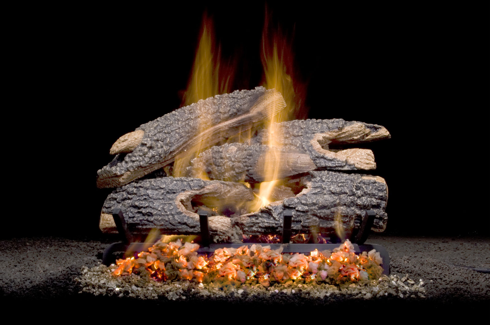 Texas Bonfire Char, a realistic set molded from local oak trees.