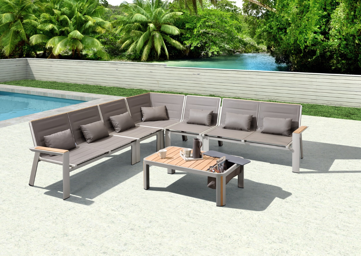 Geneva contemporary style sectional can be customized to fit any space. Teak top powder coated aluminum Coffee table features built-in ice bucket for ease of entertaining.