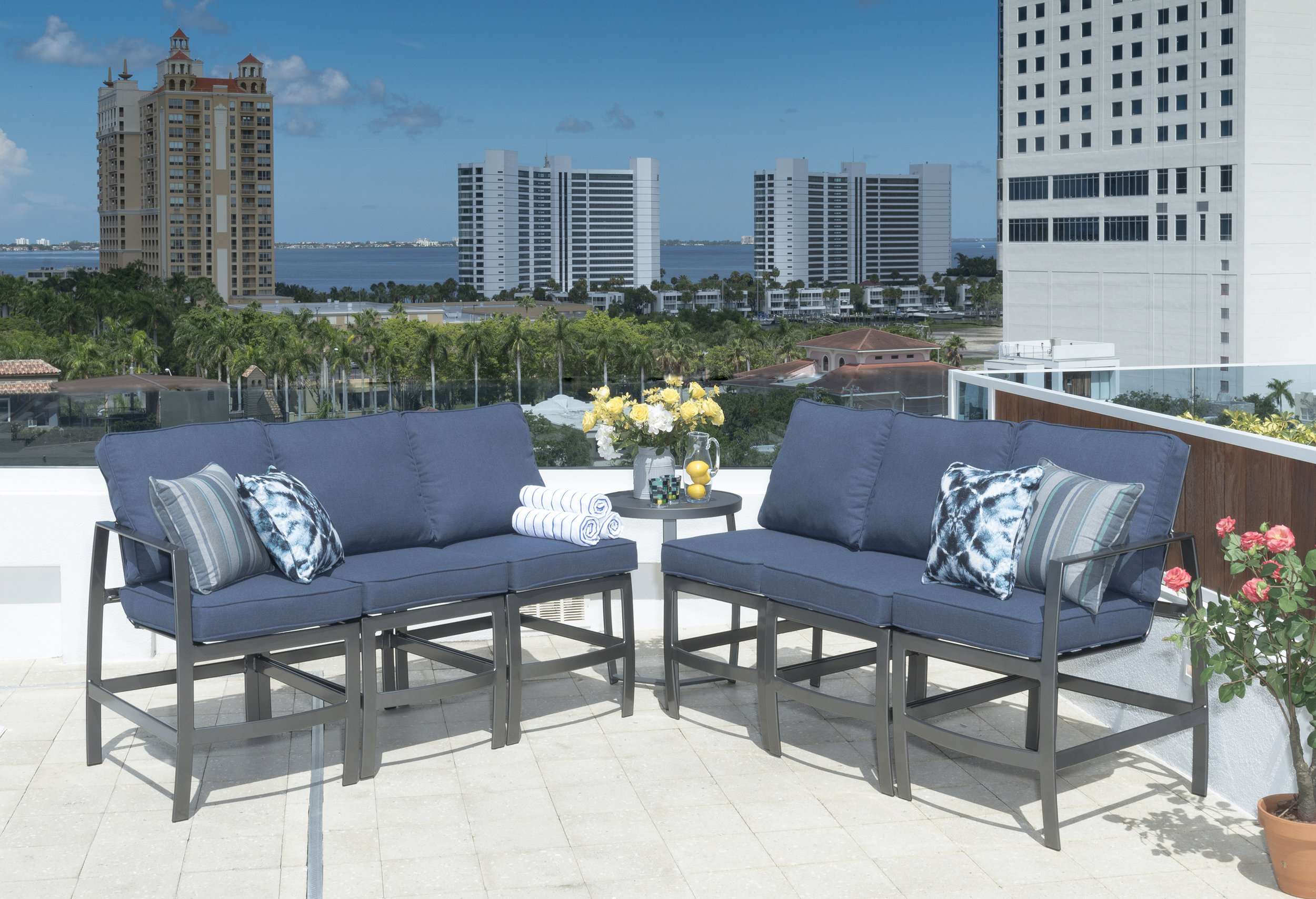 Krisp Balcony Height Seating Collection offers a unique design perspective while providing beauty and relaxed comfort.