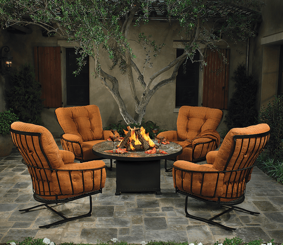 """Monterra Chat group with 54"""" OW Lee firepit. Furniture is available in OW LEE custom fabrics."""
