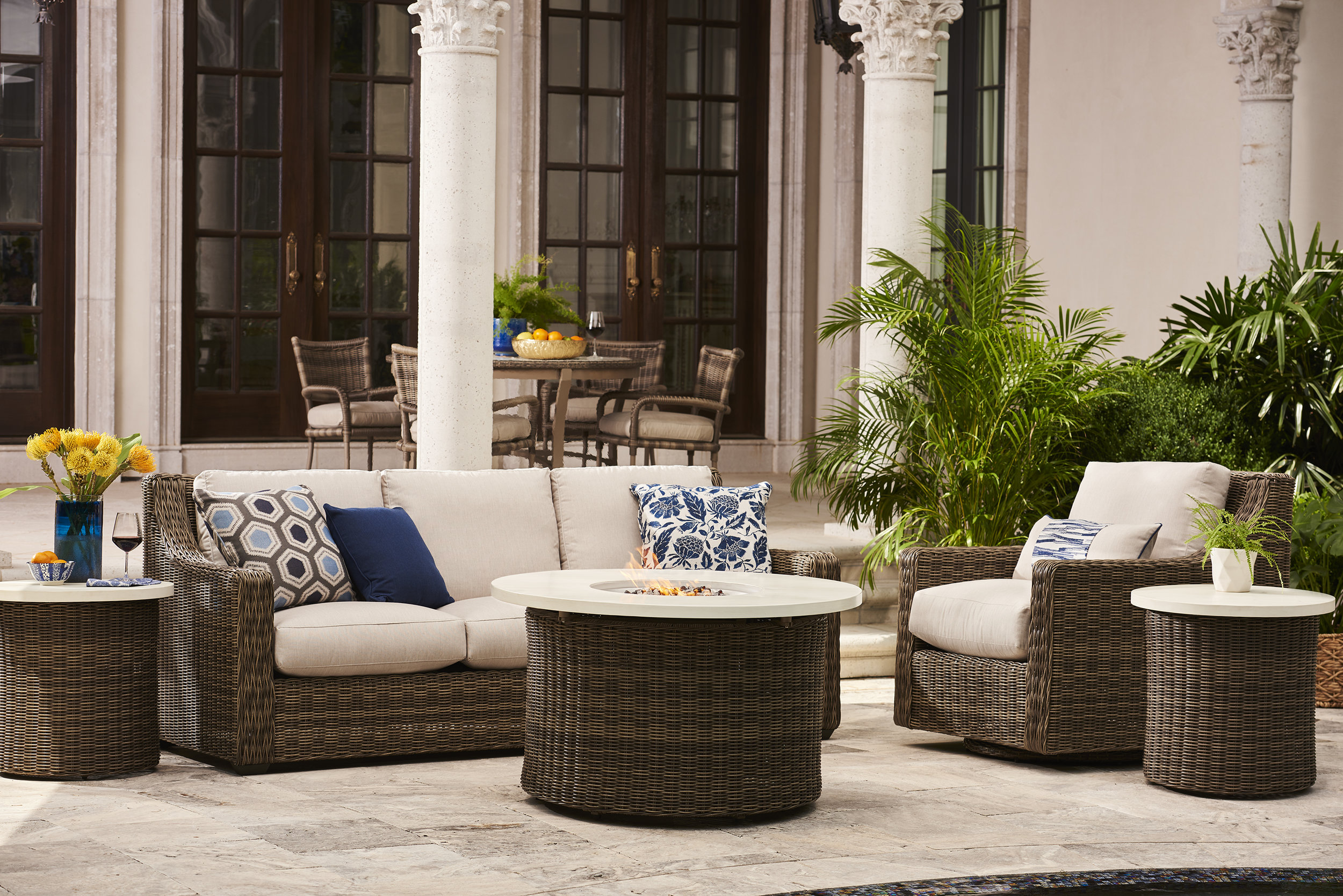 Oasis Collection provides a peaceful outdoor retreat which will always be in style. Construct of high quality, weather resistant materials, powder coated aluminum & synthetic wicker. The trademarked WEATHERMASTER Ultimate Outdoor Cushions offer superior comfort and longevity.
