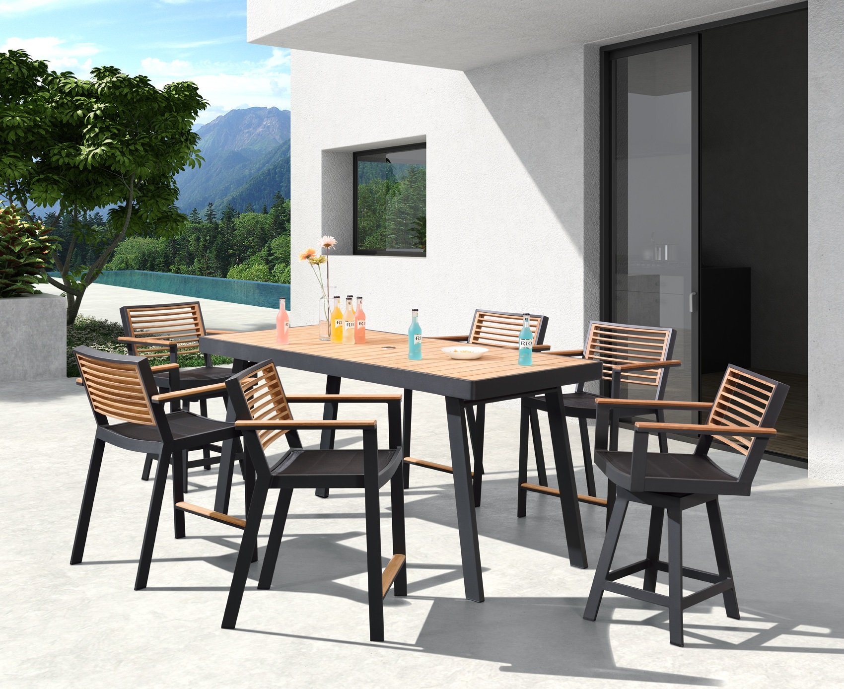 St.Lucia series is a mix of contemporary design with a designer look giving your outdoor furniture a unique indoor feel. Using the finest materials such as teak, textilene and powder coated aluminum your furniture will have the most sophisticated look.