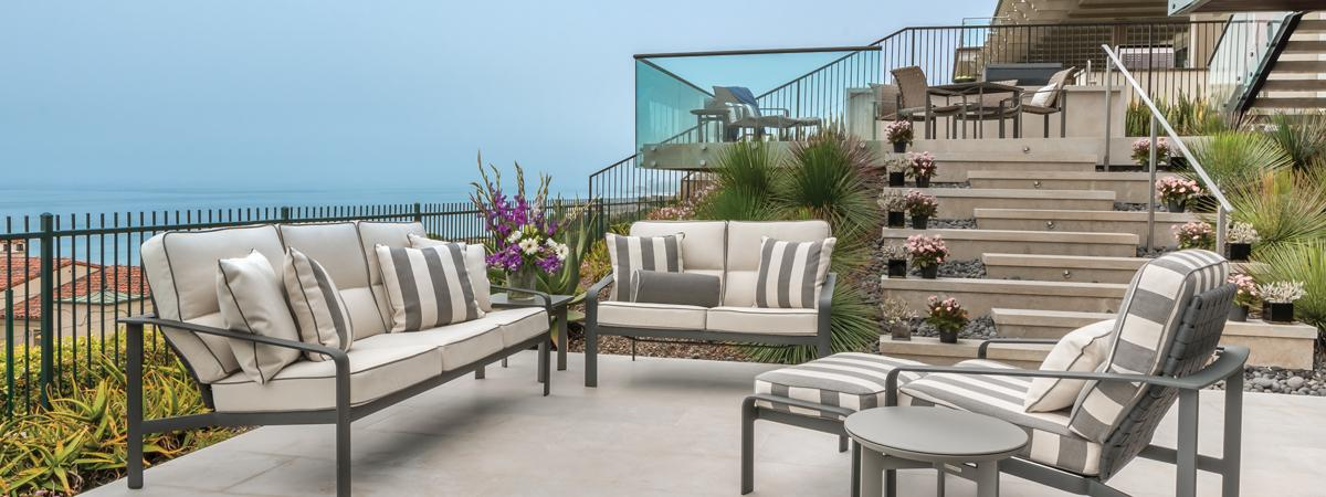Softscape is for those who want classic yet elegant outdoor furnishings. Brown Jordan is known for creating luxurious outdoor furniture since 1945. Above is shown Softscape sofa, loveseat, lounge chair and ottoman.