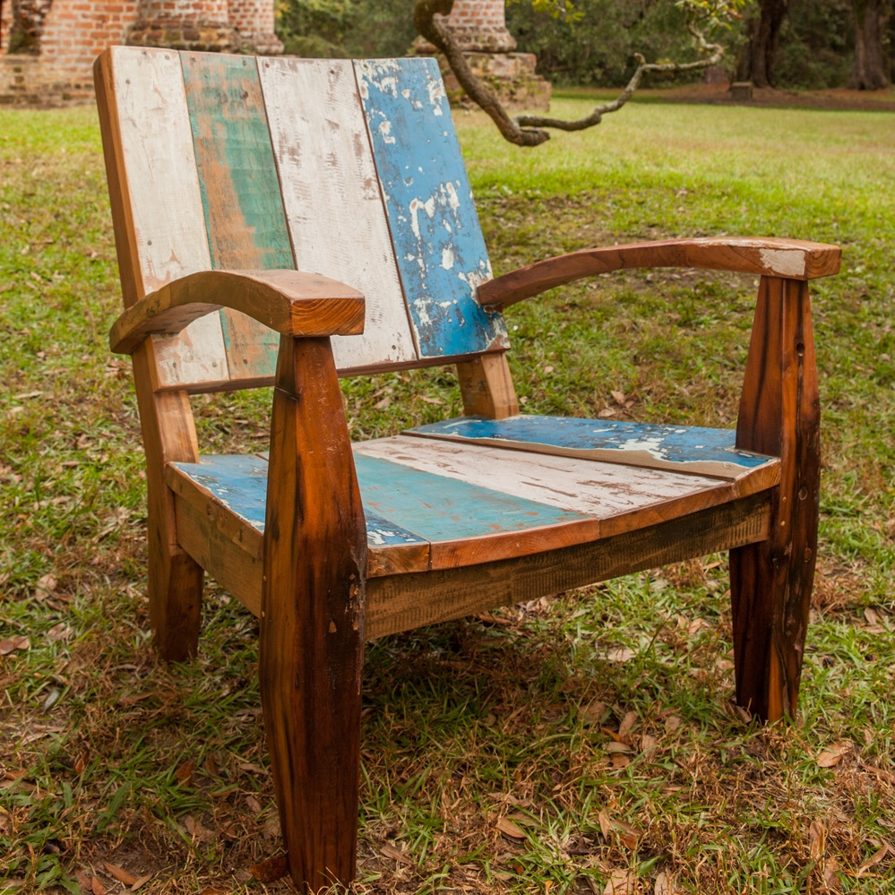 The Max chair offers relaxed seating is heavy enough not to blow around, is made of beautiful teakwood reclaimed from fishing boats in Bali. Colorful, comfortable, affordable, never wears out, no parts or cushions to ever replace.