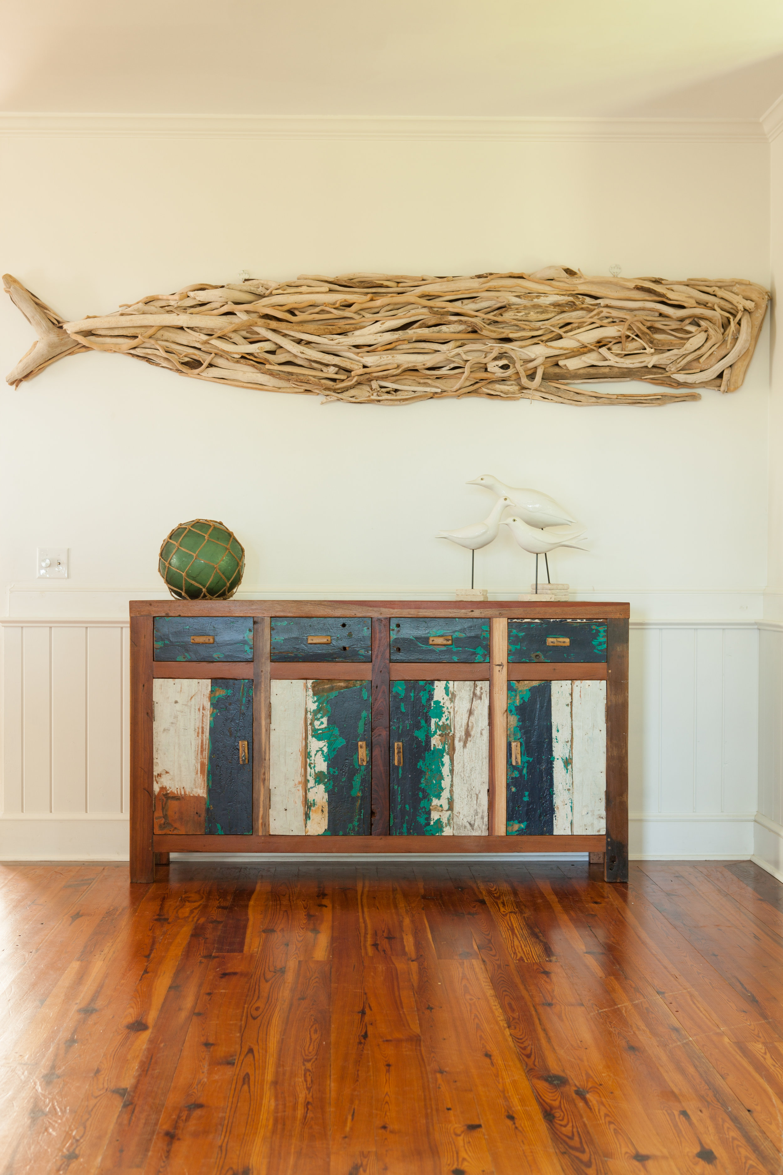 The YuYu 4 drawer storage and serving Buffet is beautiful and practical. Made of teakwood reclaimed from fishing boats from Bali, each piece is handcrafted and unique. Perfect for use indoors or outdoors on covered patio.