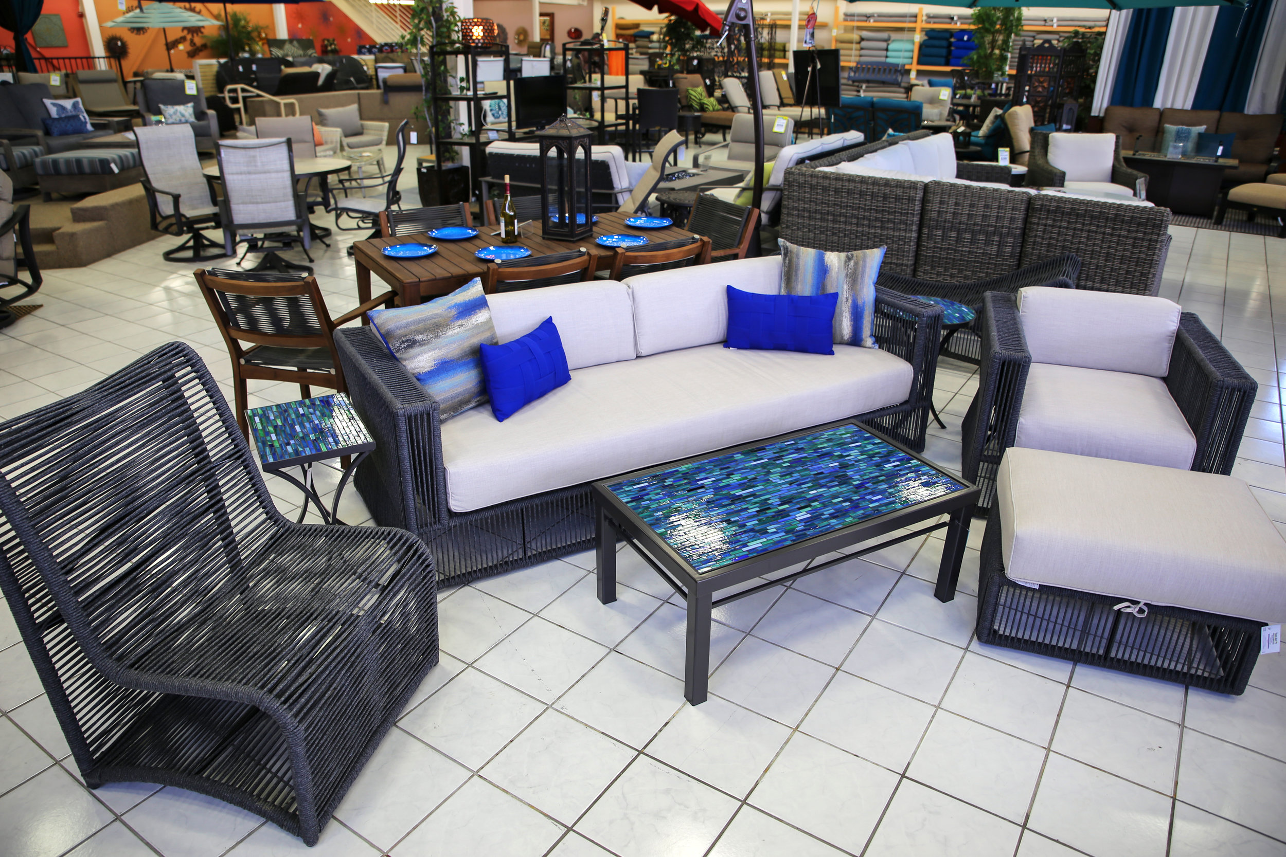 Milano Stock Set with Elaine Smith Pillows and KNF Tables Lounge Chair sofa and Cushionless Chair