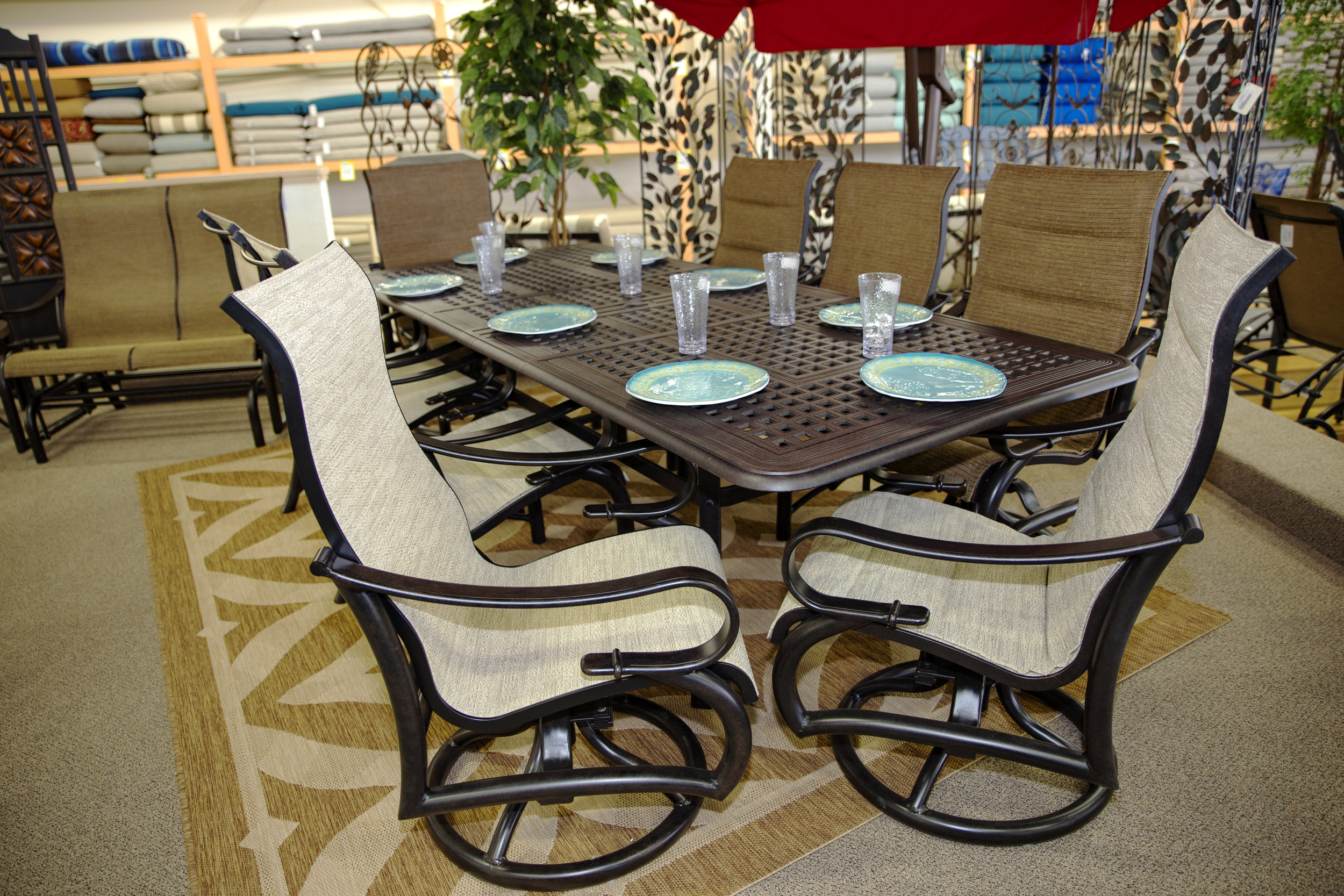 Passage Dining Set in both fabrics in both sling and padded sling with chaises, gliders, dining chairs and swivel chairs
