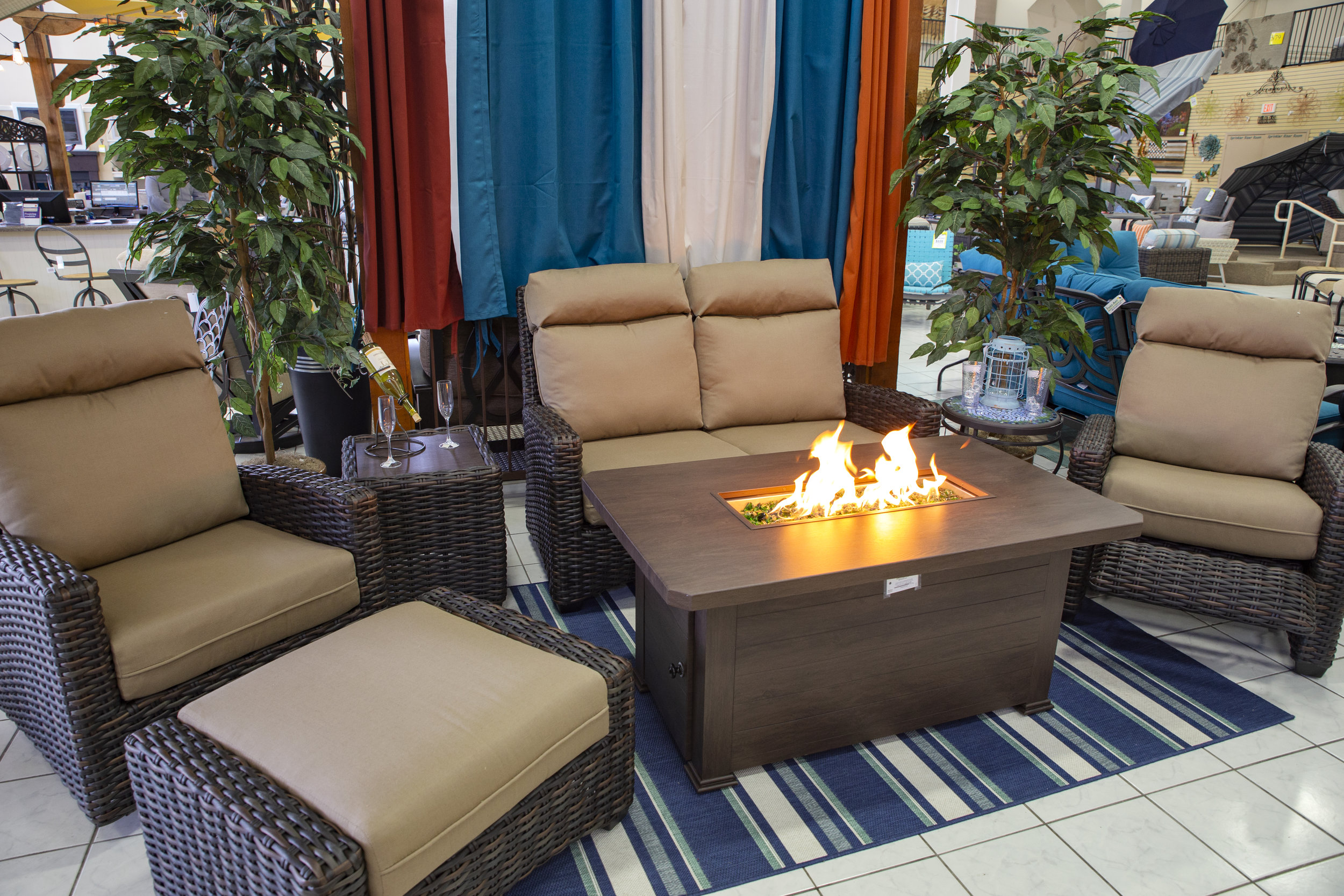 Wicker Set with Recliner, Swivel Club, Sofa, Loveseat Fire pit and more in both Grey and Brown