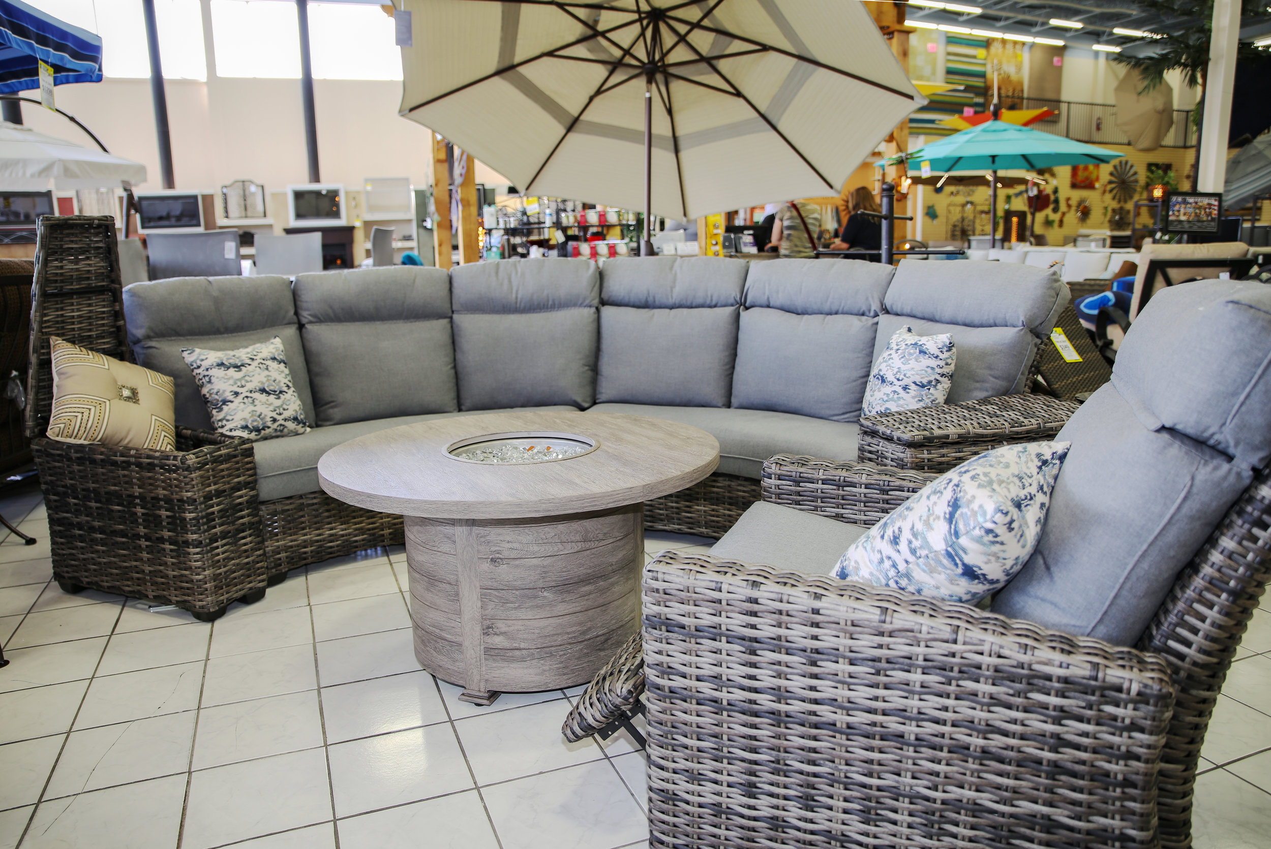 Wicker Curved Sectional so you can make it as big as you want. Stocked in both Grey and Brown