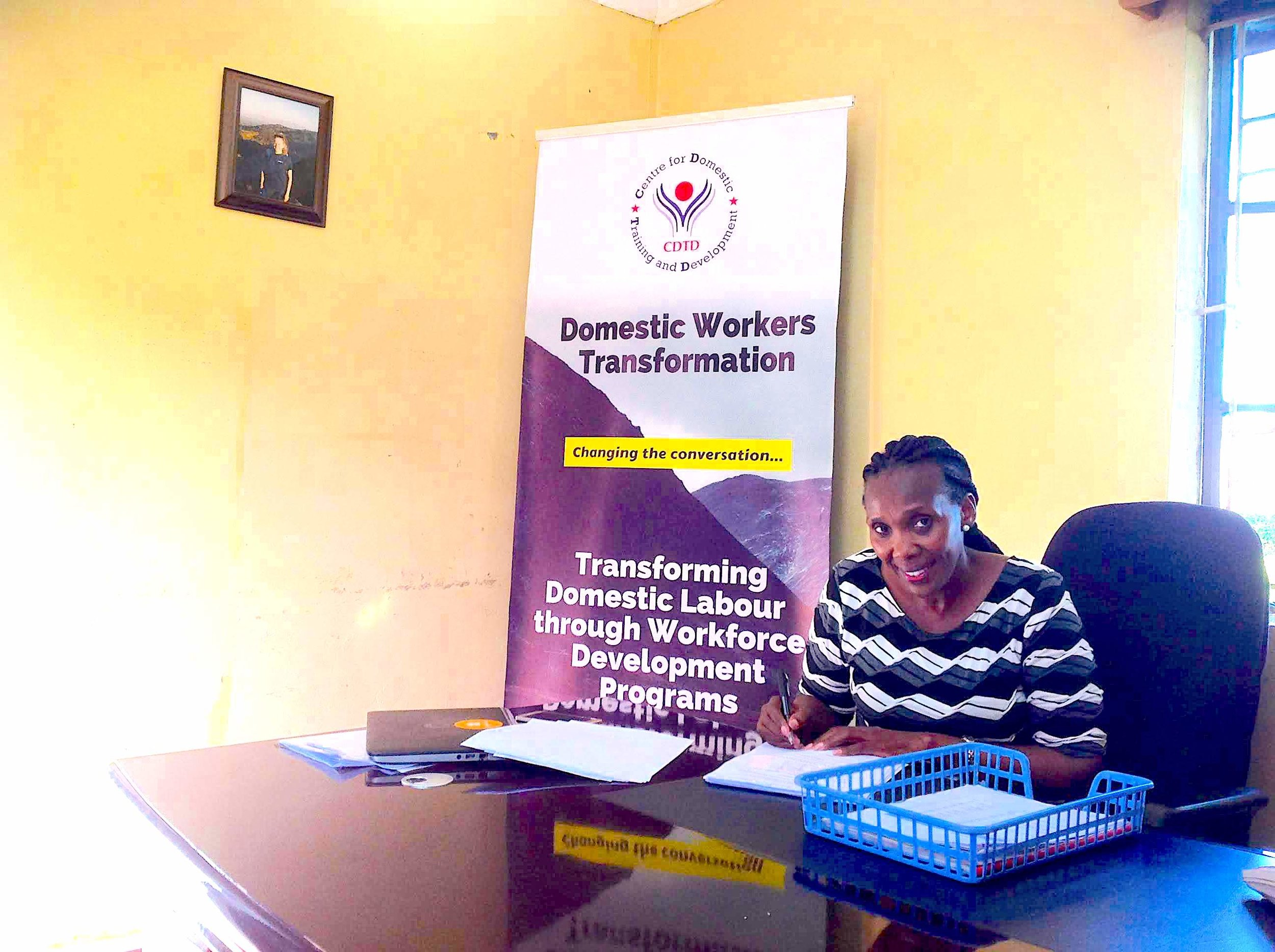 Edith Murogo in her Office (Tali's pic to the upper left). Centre for Domestic Training and Development, Nairobi, Kenya–April 2019