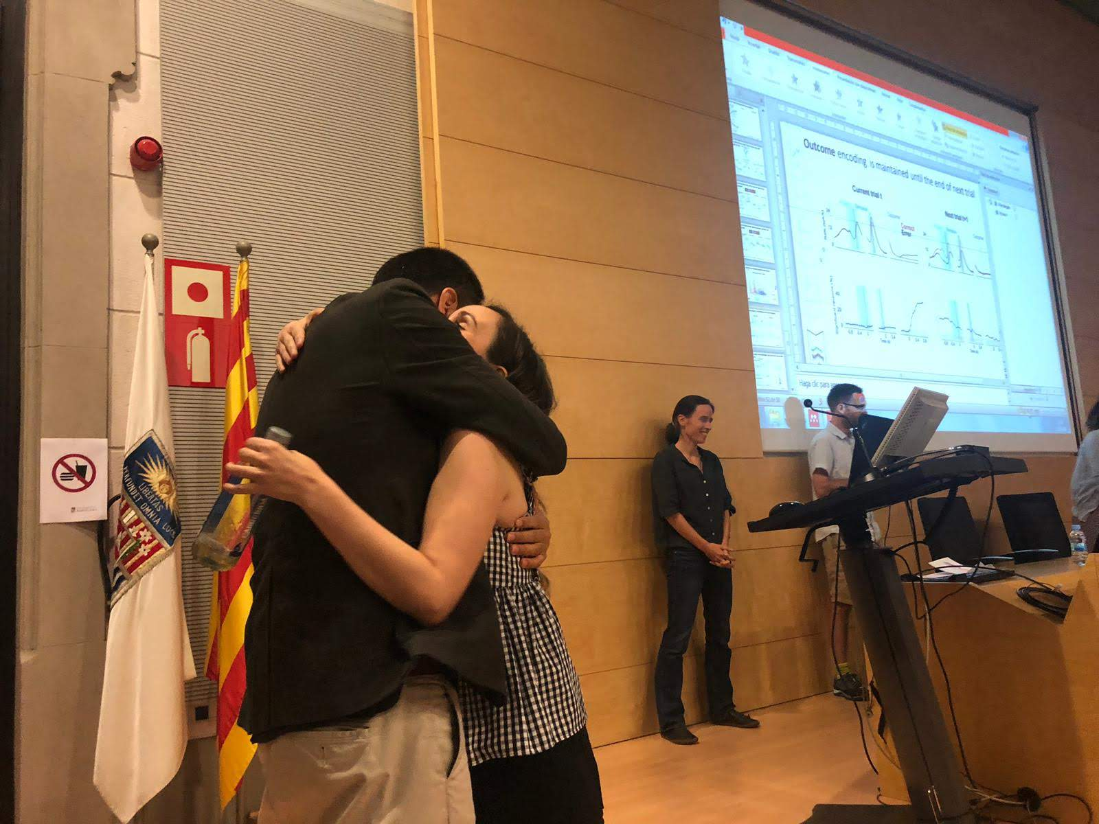 Hugs and kisses after succesfully defending. Congratulations Dr. Hermoso-Mendizabal.