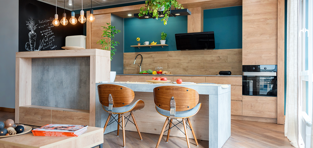 Kitchen design style with wood