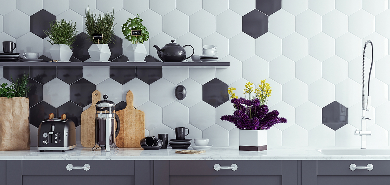 Hexagon-shaped kitchen back splash