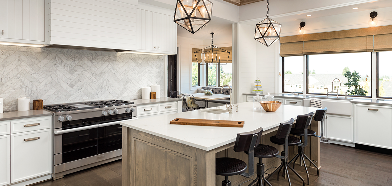 Kitchen with hanging pendant lights