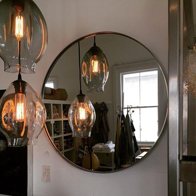 Loving these Monmouth Lights at Tessuti #monmouthglassstudio #tessutinz #mirrors #lighttheworld