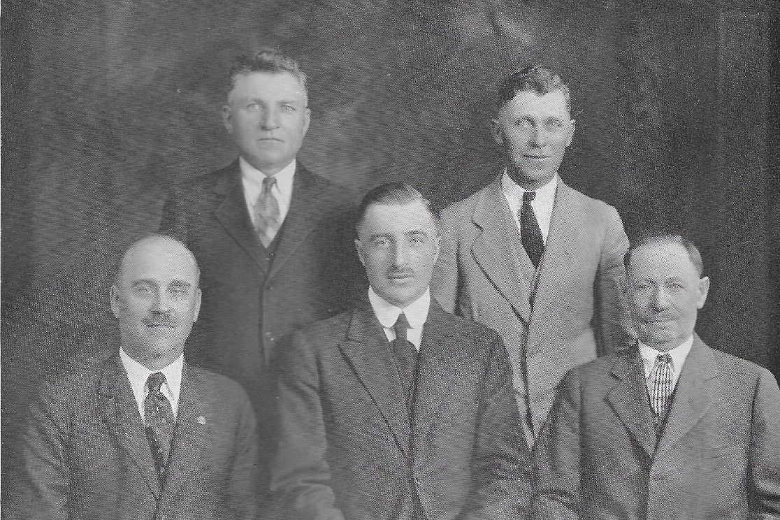 Pictured are founding members of First Reformed Church with Pastor Reitzer in 1929. Clockwise, from top left: Jacob Schlothauer, Conrad Heidel, Conrad Koch, Rev. Wm. Reitzer, and John Schneider.