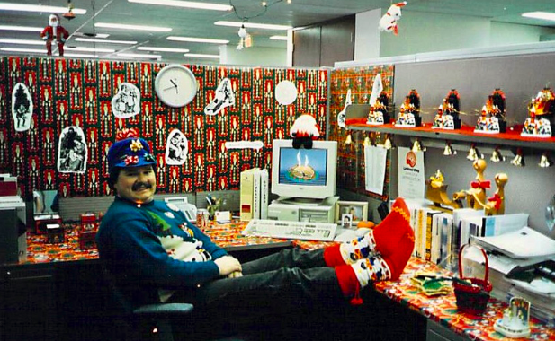 "Back in the 80s, Ken was a competitive Christmas cubicle participant. ""I had the dubious distinction of winning best single cubicle, double cubicle, and group cubicles in three consecutive years."""