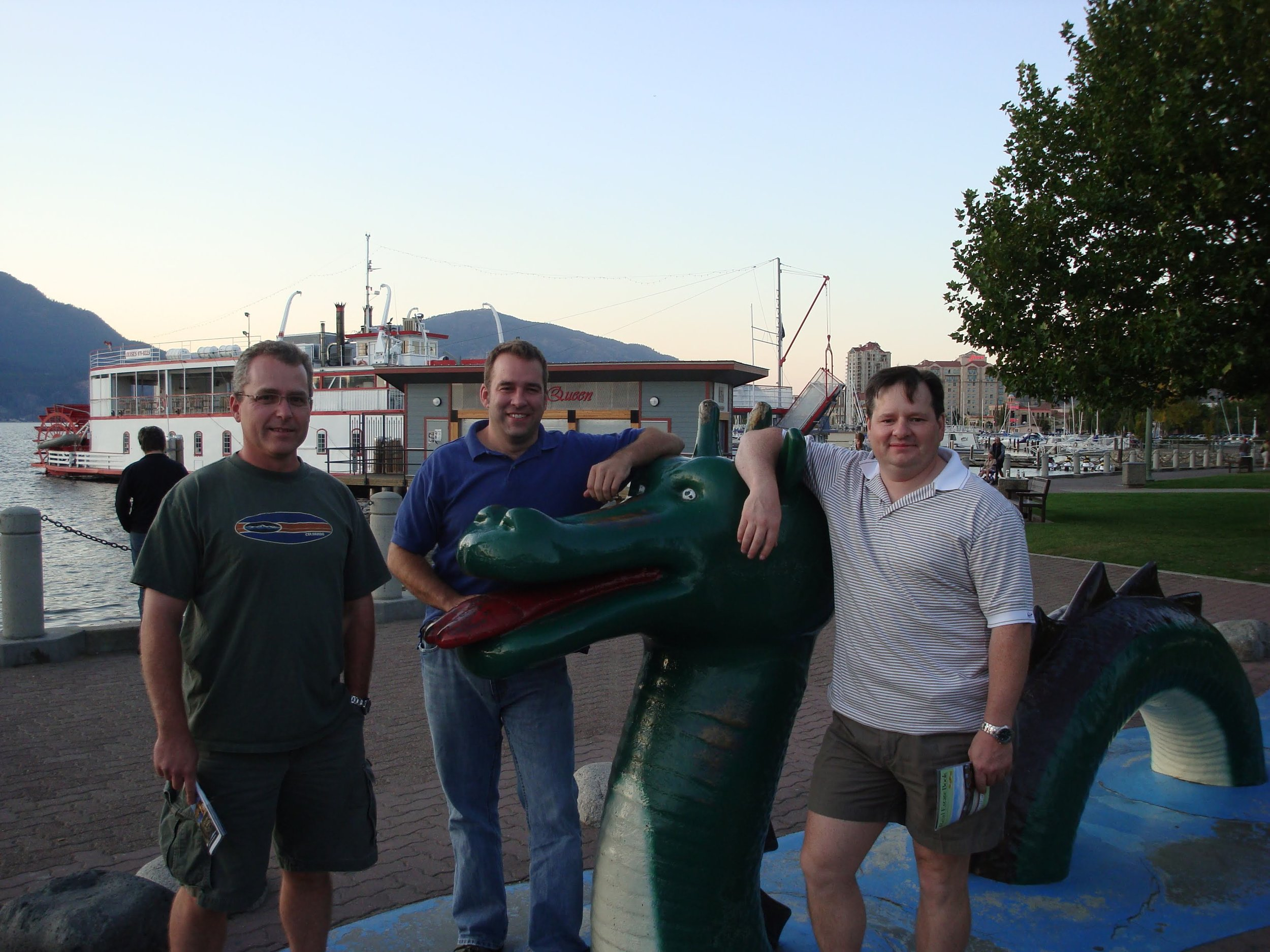 Kevin, Chris, and Ken with the Kelowna Ogopogo. Fun fact: ReconInsight's Data Monster was inspired by the Ogopogo, Kelowna's own mythical lake monster!