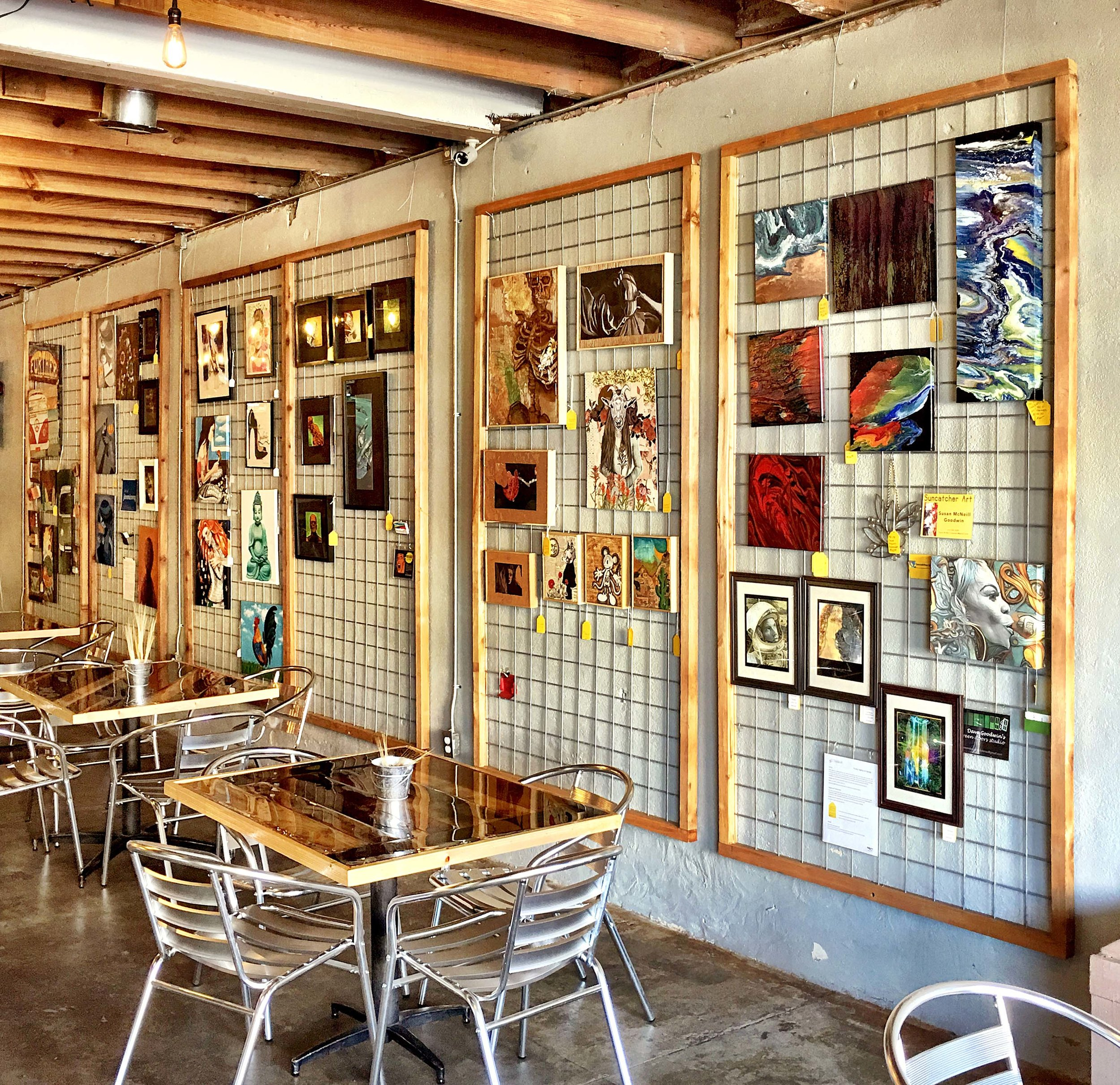 The OFF THE GRID Community Gallery is located at Dirty Job Brewing on Main Street in historic Downtown Mansfield, Texas.