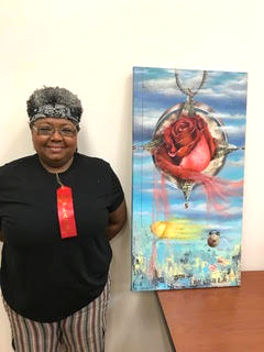 "First Runner Up, Second Place, Natascha Thorpe, Acrylic Collage, ""The Sweet Sweat of Time"". Displayed at Plains Bank on Broad St."